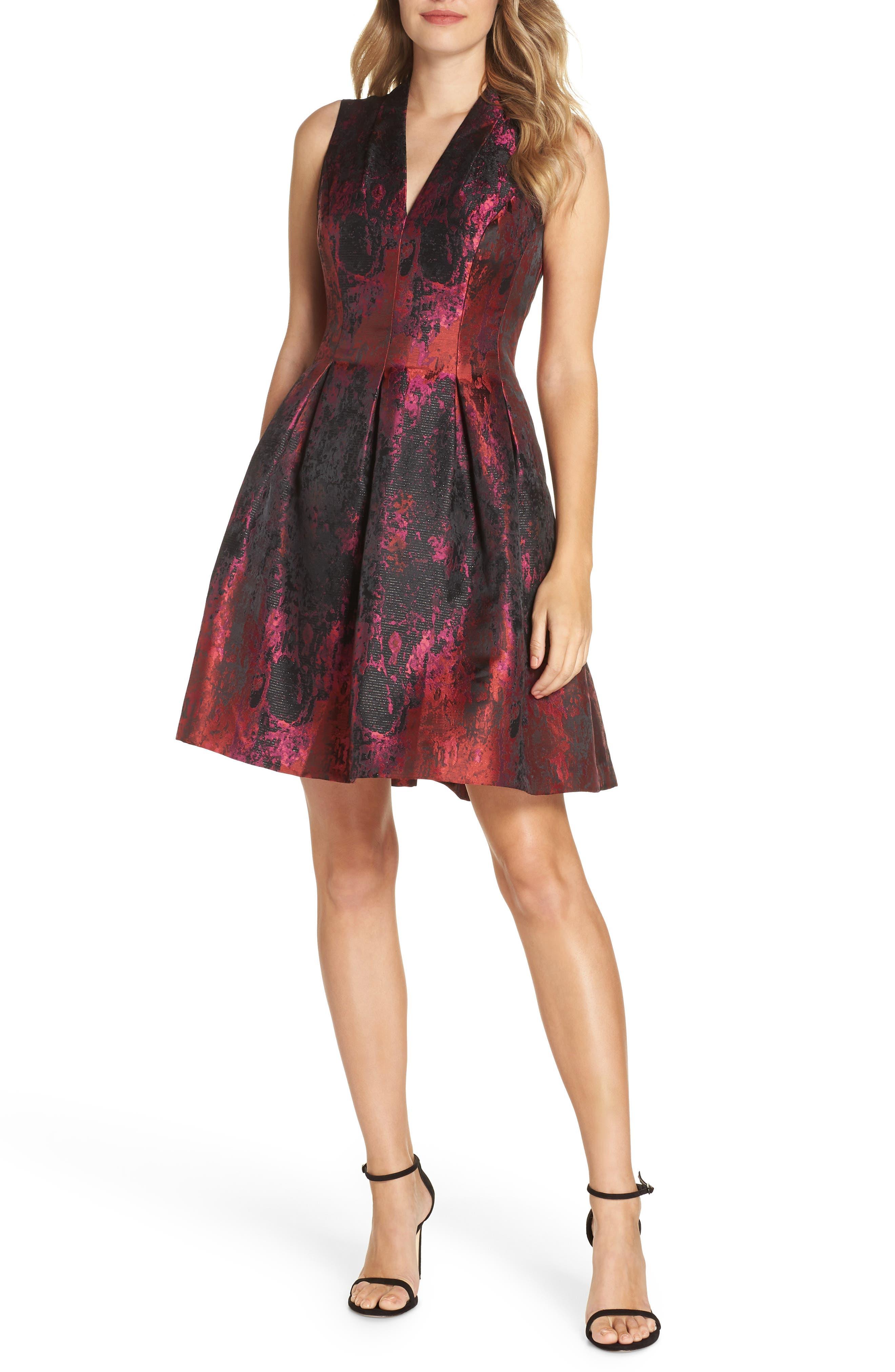 Jacquard Fit & Flare Dress,                             Main thumbnail 1, color,                             PINK MULTI