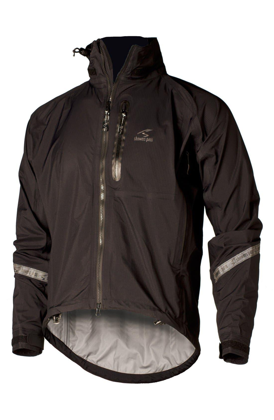 SHOWERS PASS,                             'Elite 2.1' Trim Fit Waterproof Hooded Jacket,                             Alternate thumbnail 3, color,                             001