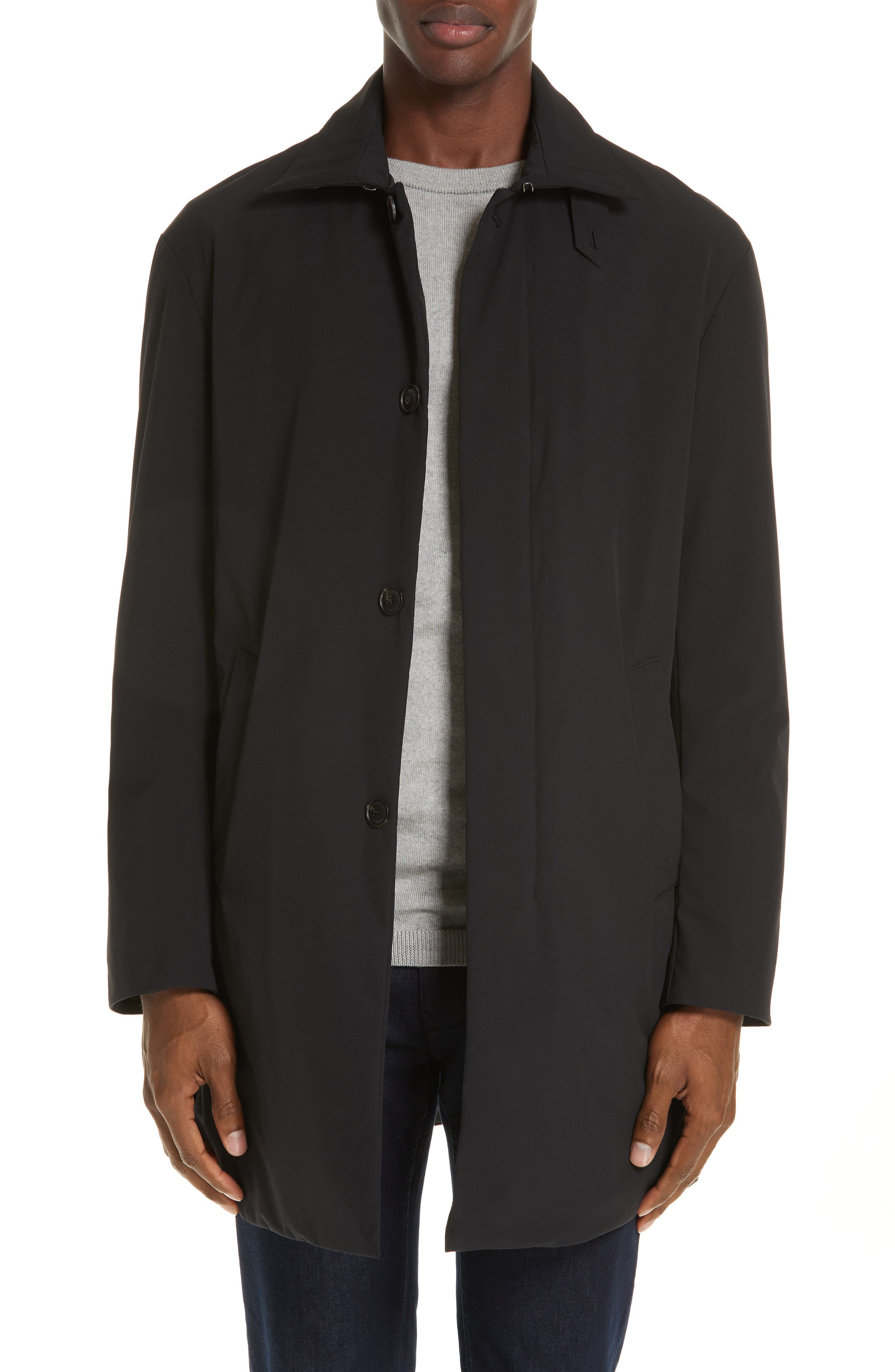 EMPORIO ARMANI,                             Trim Fit Stretch Topcoat,                             Main thumbnail 1, color,                             001