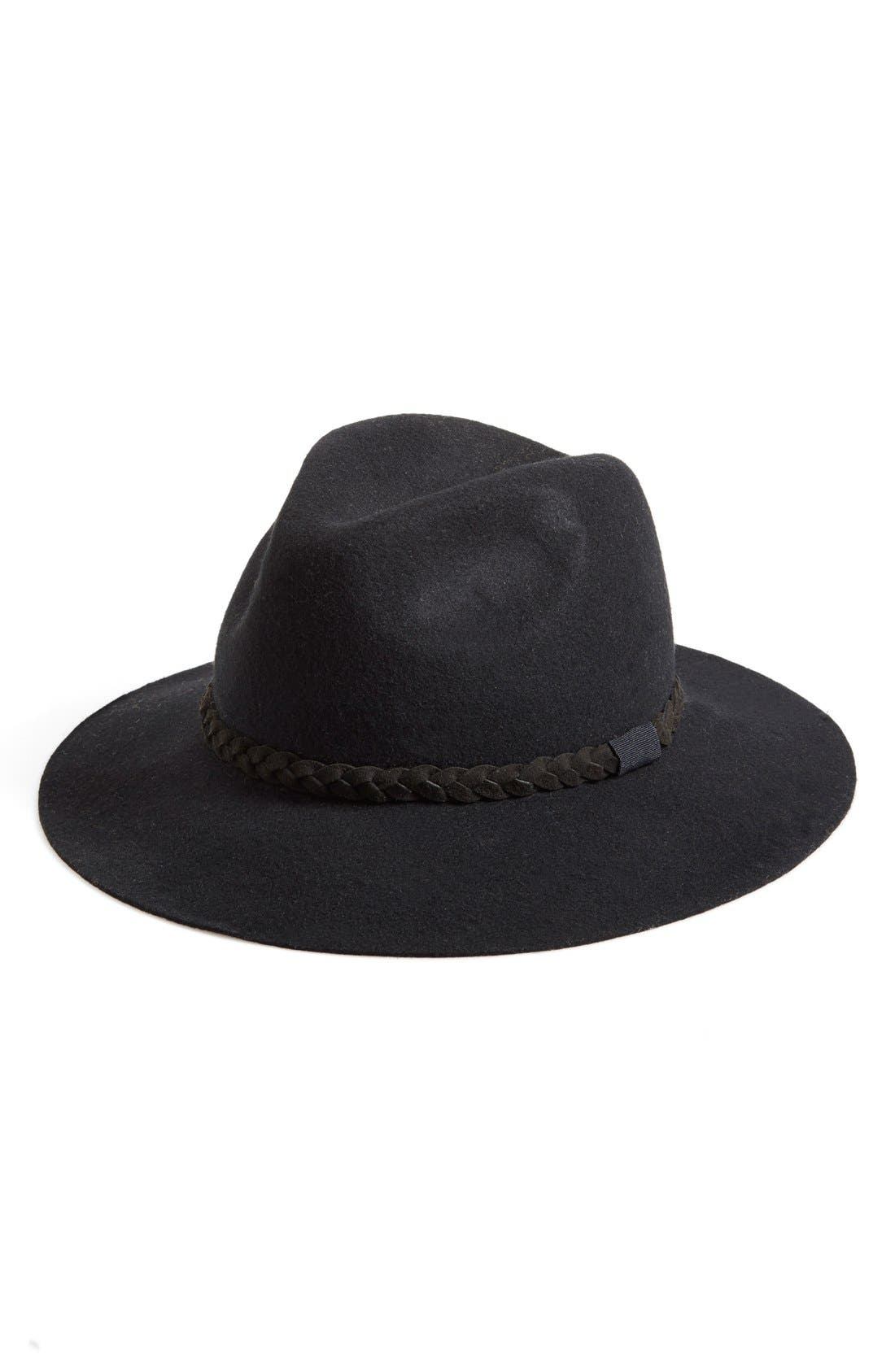 MICHAEL STARS,                             'She's Twisted' Wool Fedora,                             Main thumbnail 1, color,                             001