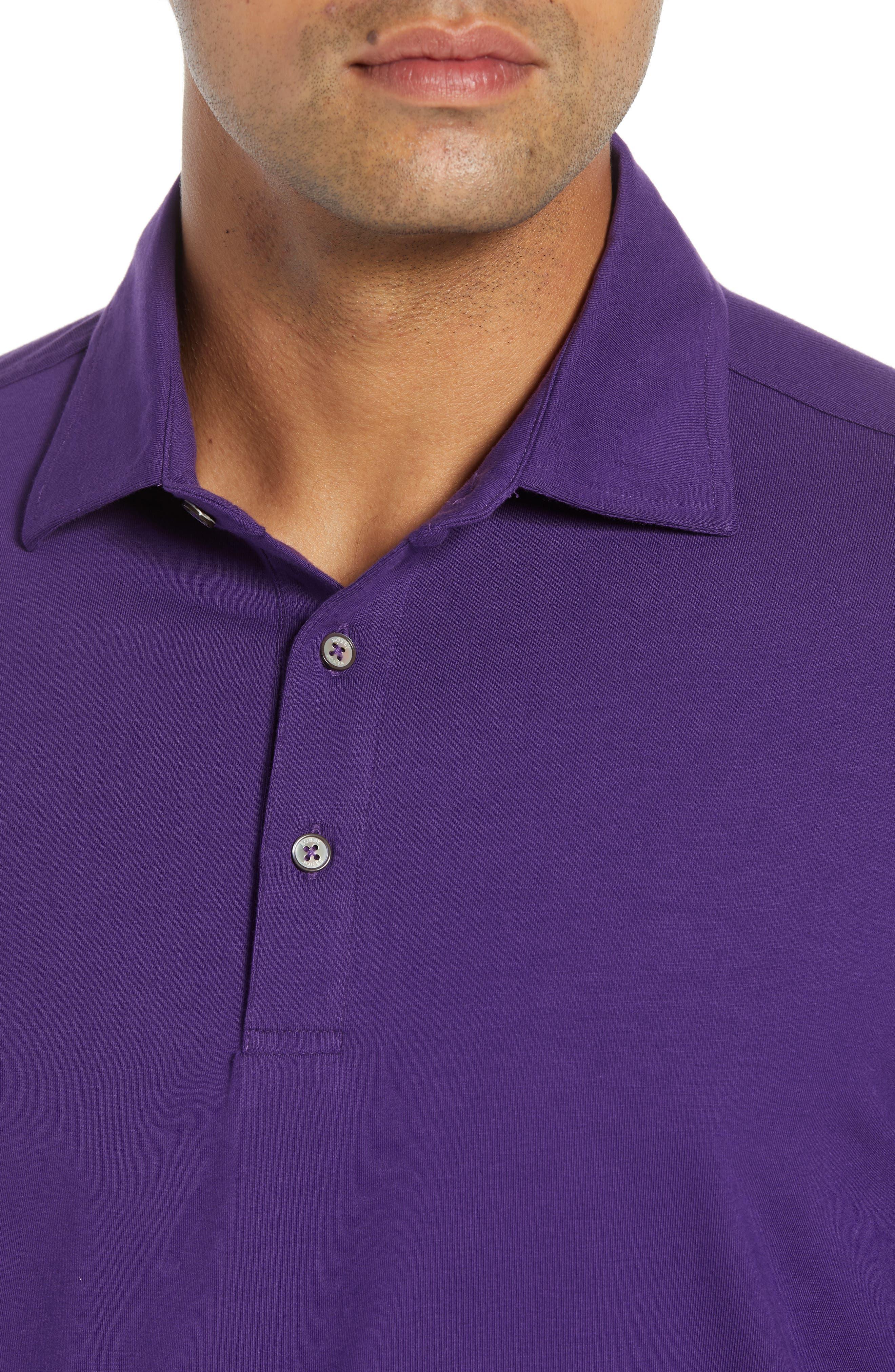'Liquid Cotton' Long Sleeve Jersey Polo,                             Alternate thumbnail 4, color,                             PURPLE