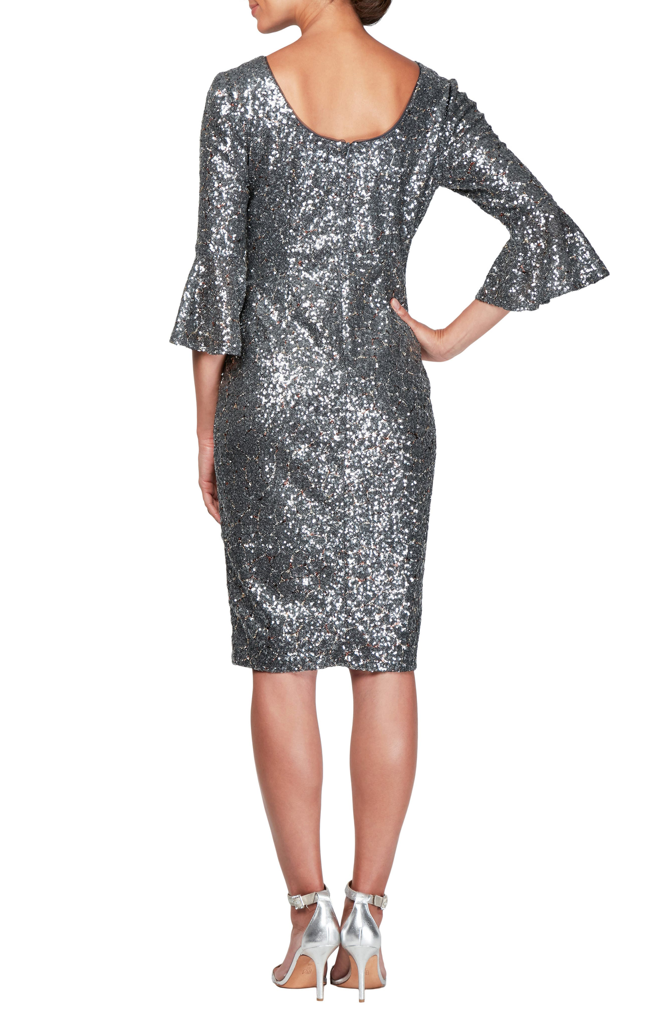 Sequin Bell Cuff Cocktail Sheath Dress,                             Alternate thumbnail 2, color,                             GUNMETAL