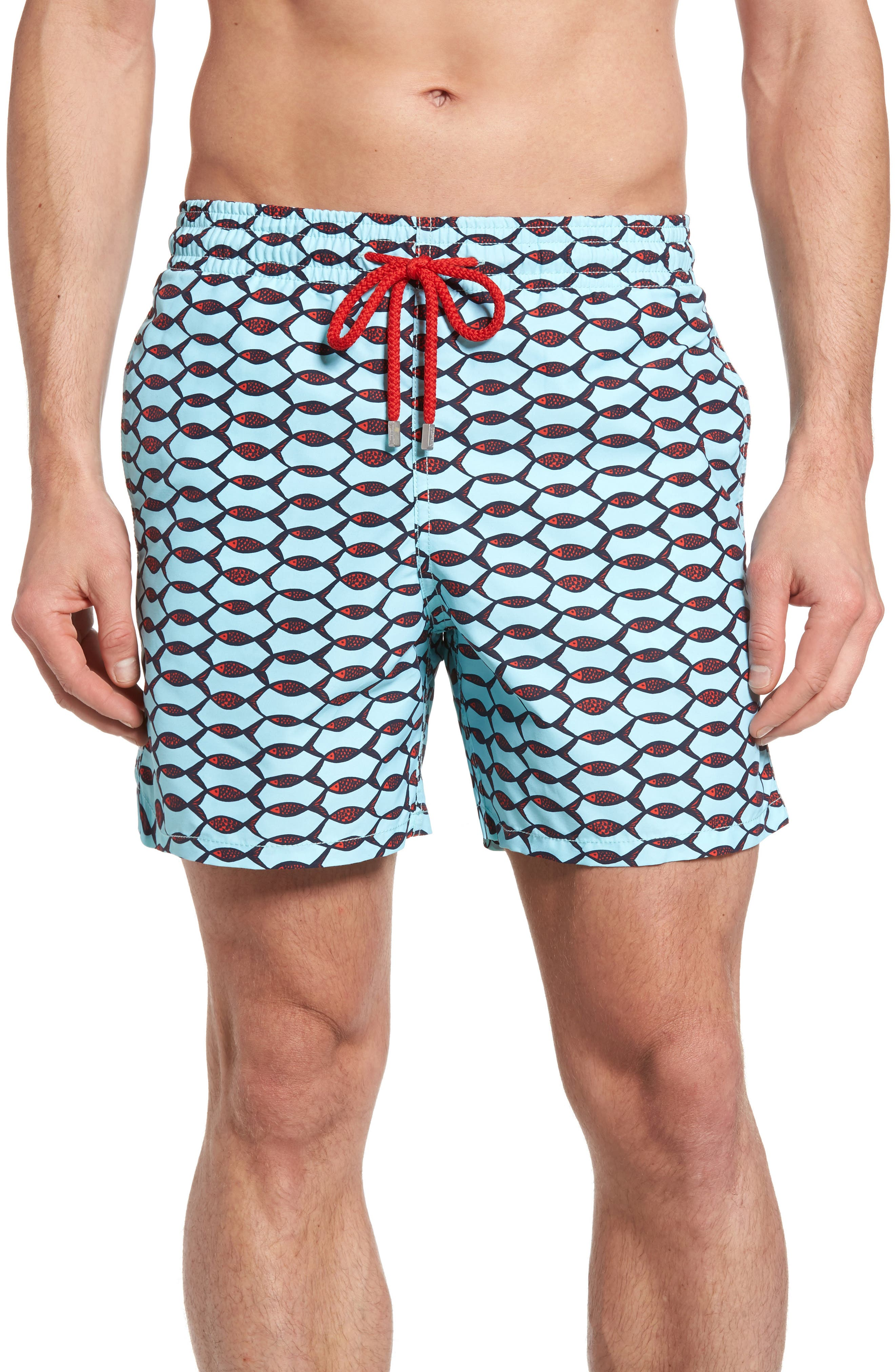 Moorea Fishnet Print Swim Trunks,                         Main,                         color, FROSTED BLUE