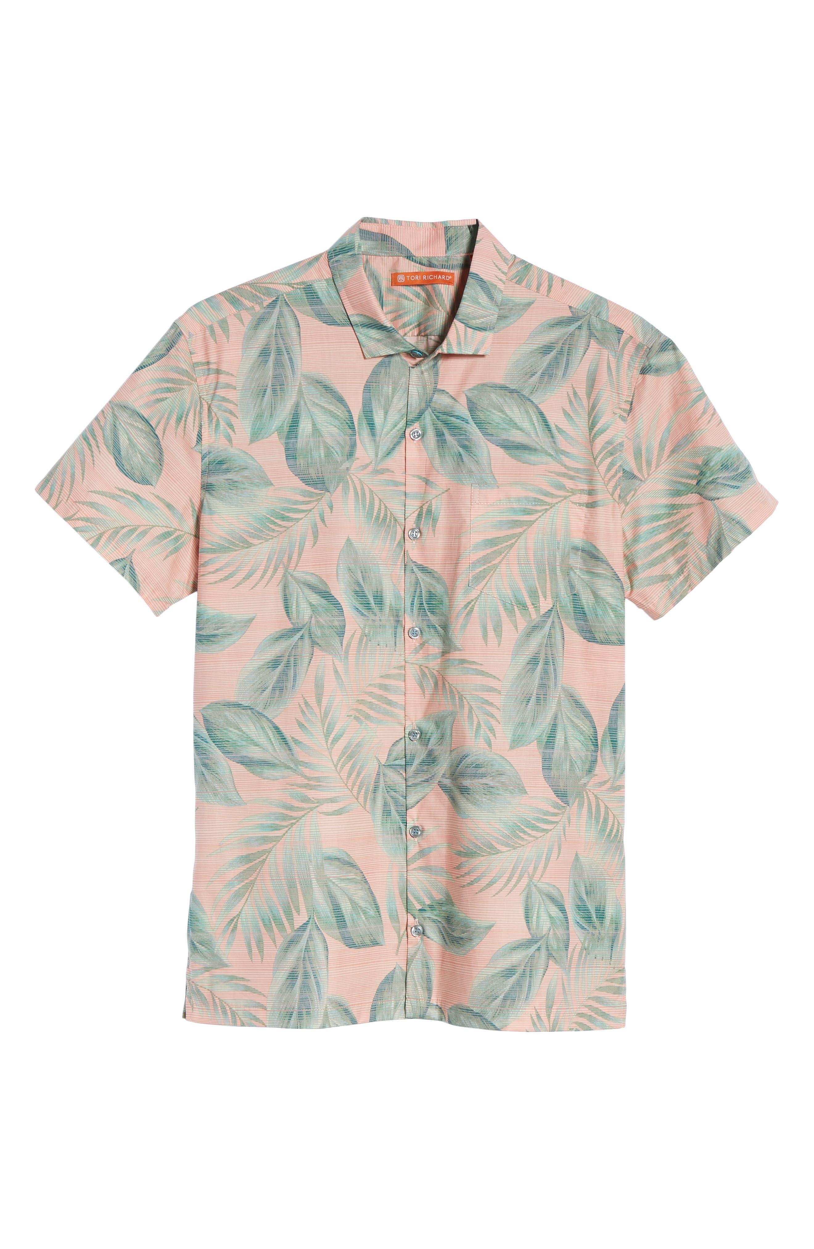 Shade Plant Trim Fit Camp Shirt,                             Alternate thumbnail 6, color,                             BISQUE