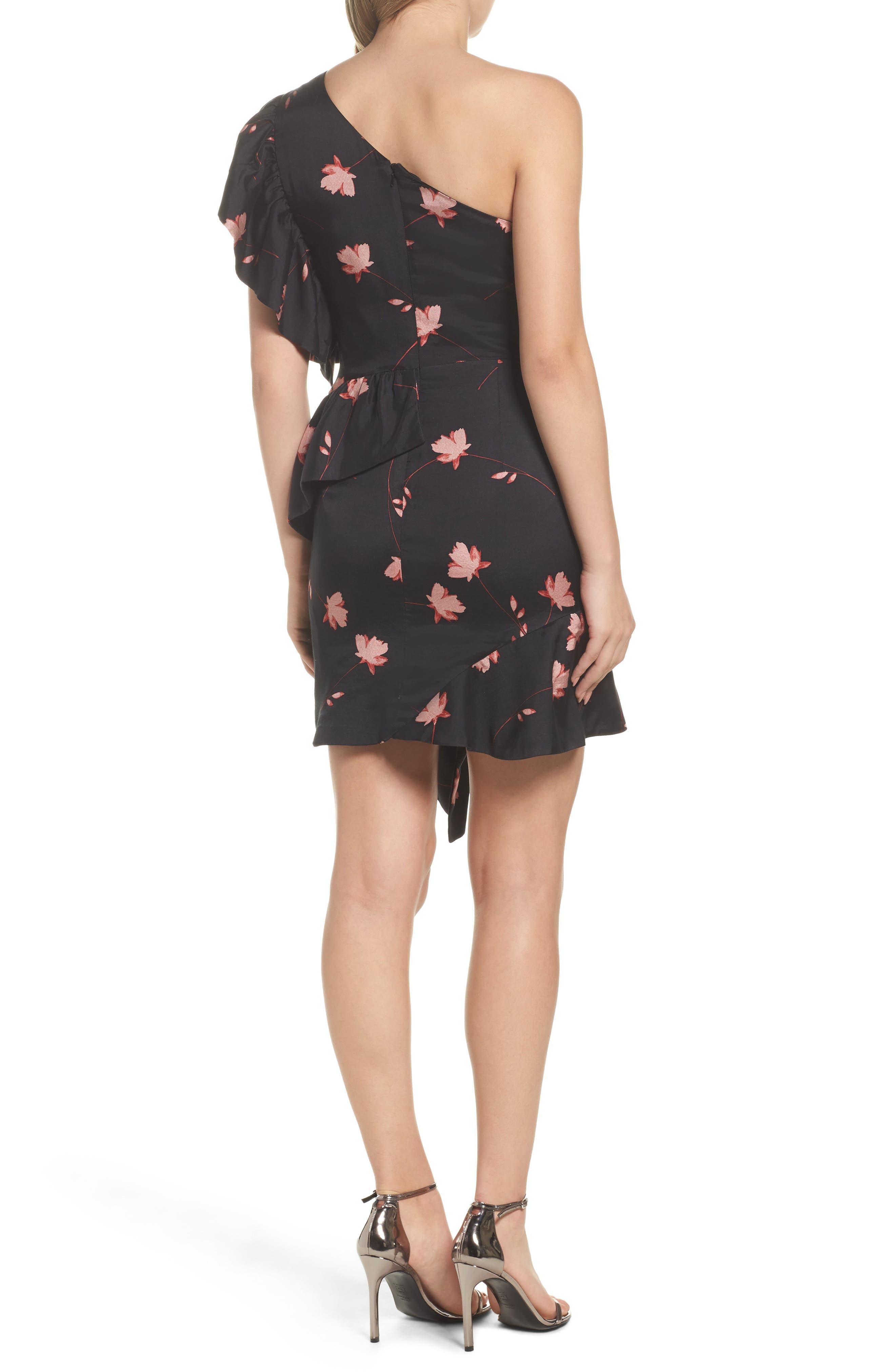 Lucia Frill One-Shoulder Dress,                             Alternate thumbnail 2, color,                             017