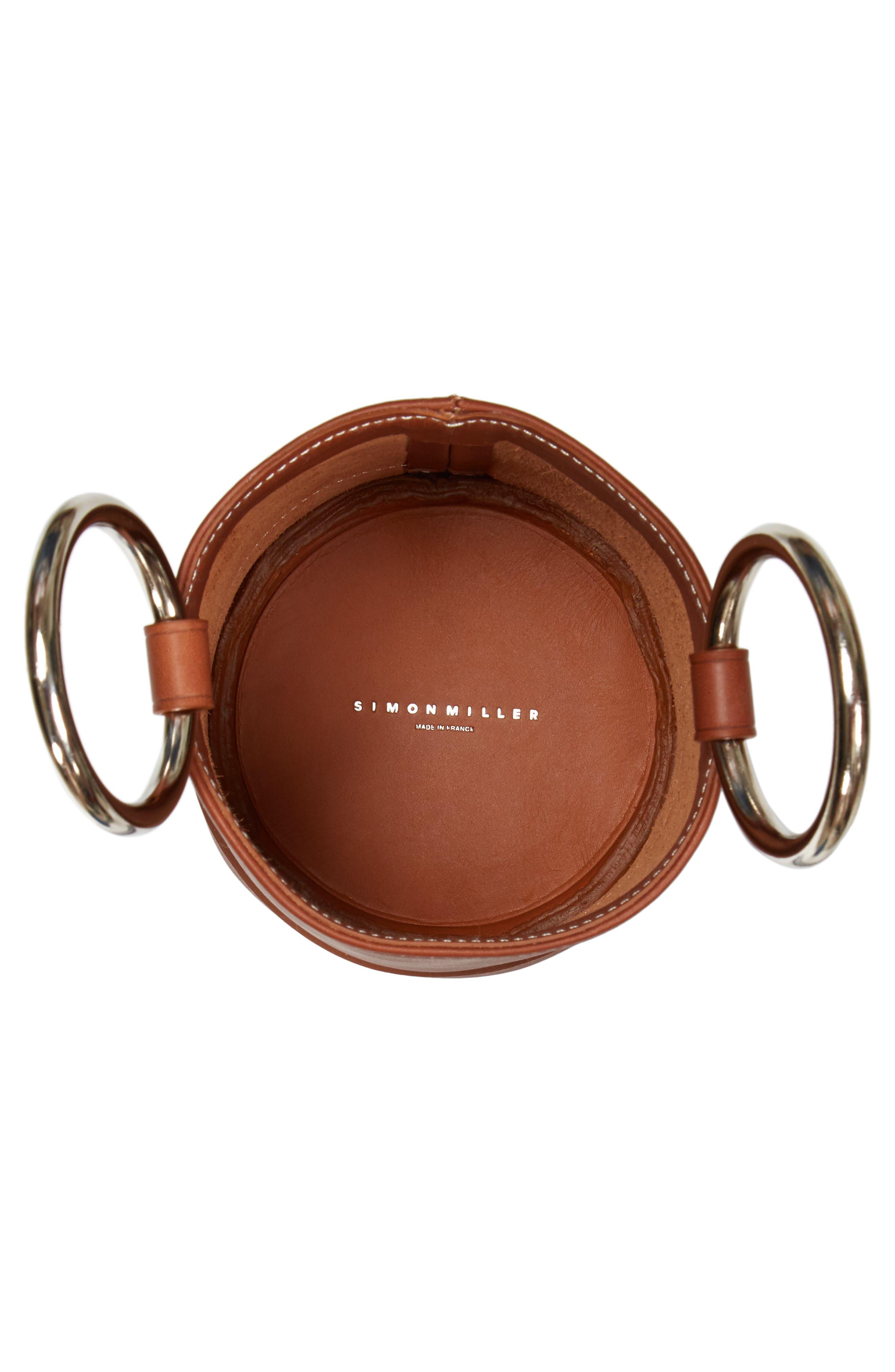 Bonsai 15 Calfskin Leather Bucket Bag,                             Alternate thumbnail 4, color,                             DARK TAN