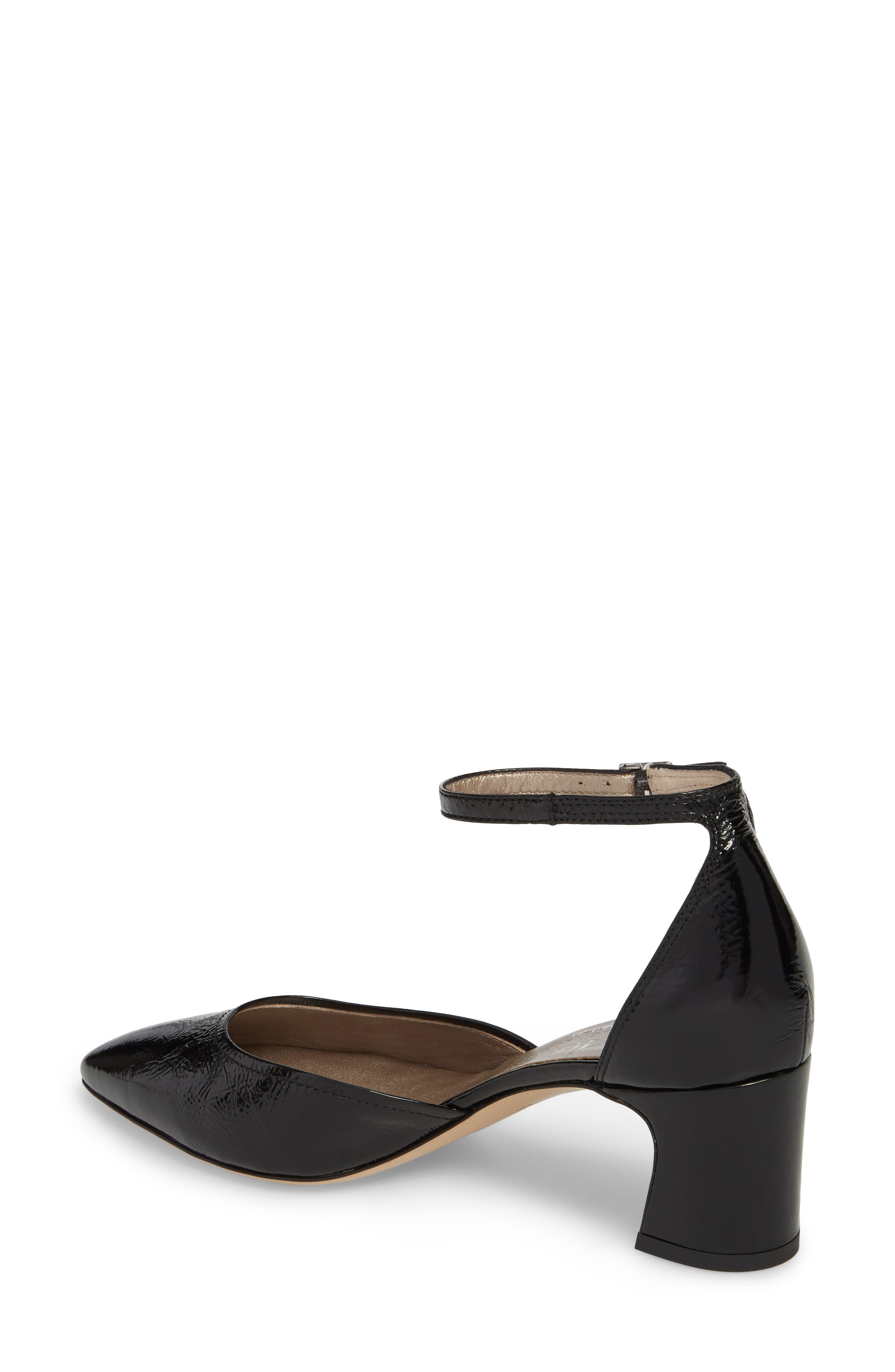 d'Orsay Ankle Strap Pump,                             Alternate thumbnail 2, color,                             BLACK GLAMMY LEATHER