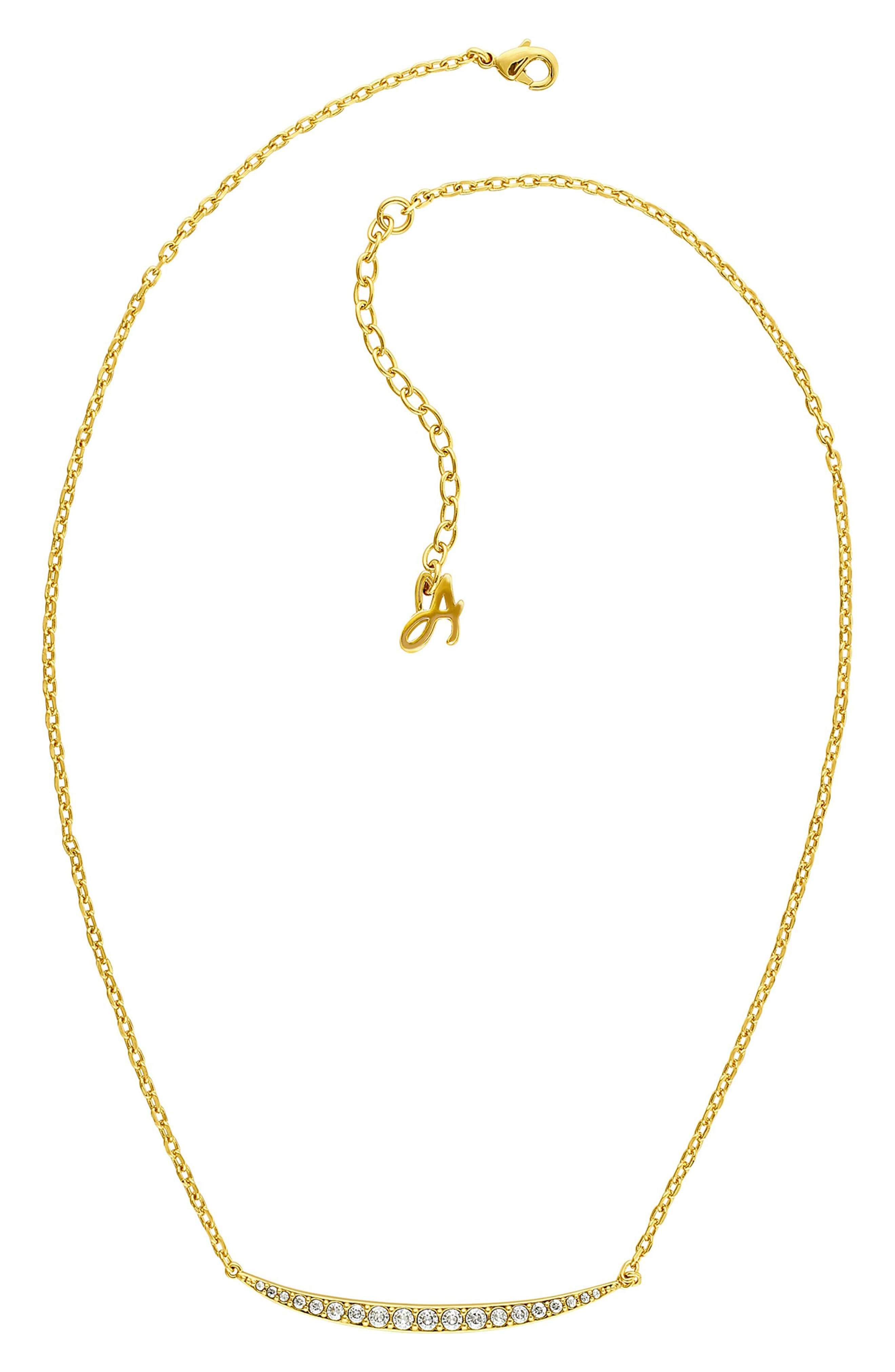 ADORE Curved Crystal Bar Necklace in Gold