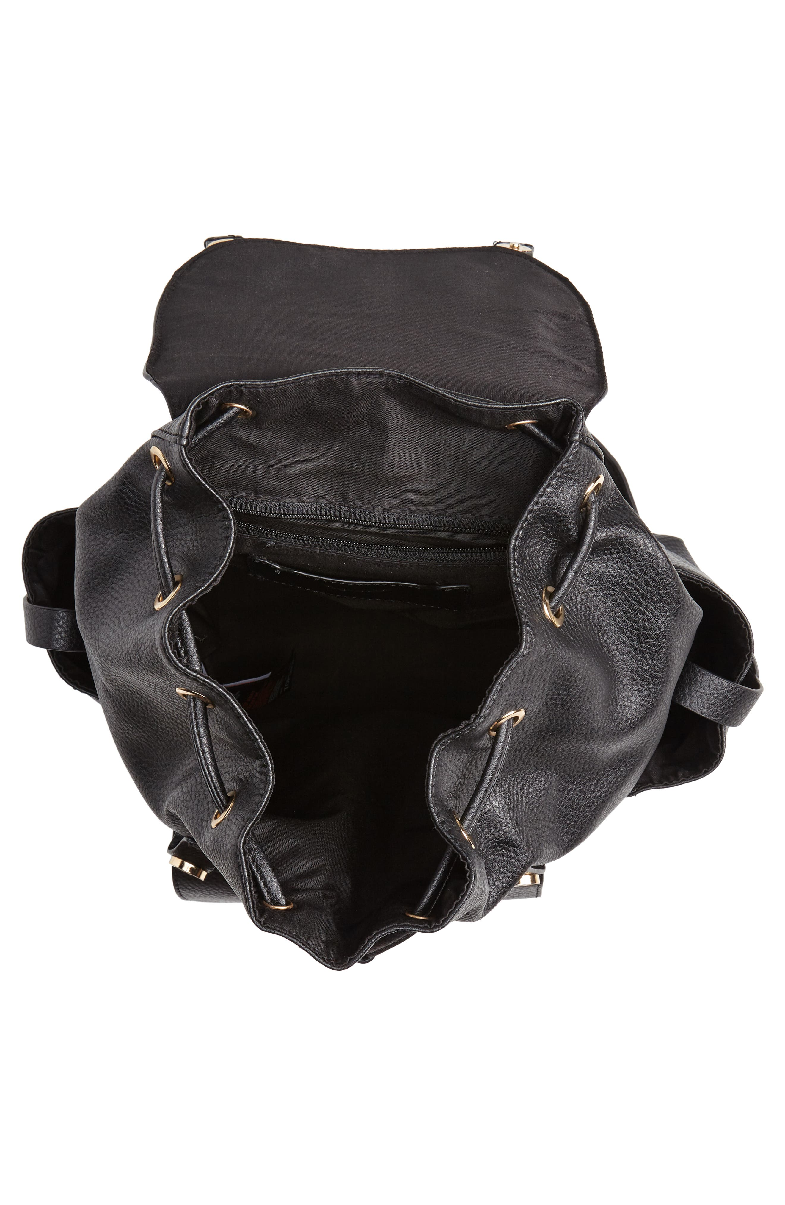 Becky Faux Leather Backpack,                             Alternate thumbnail 4, color,                             001