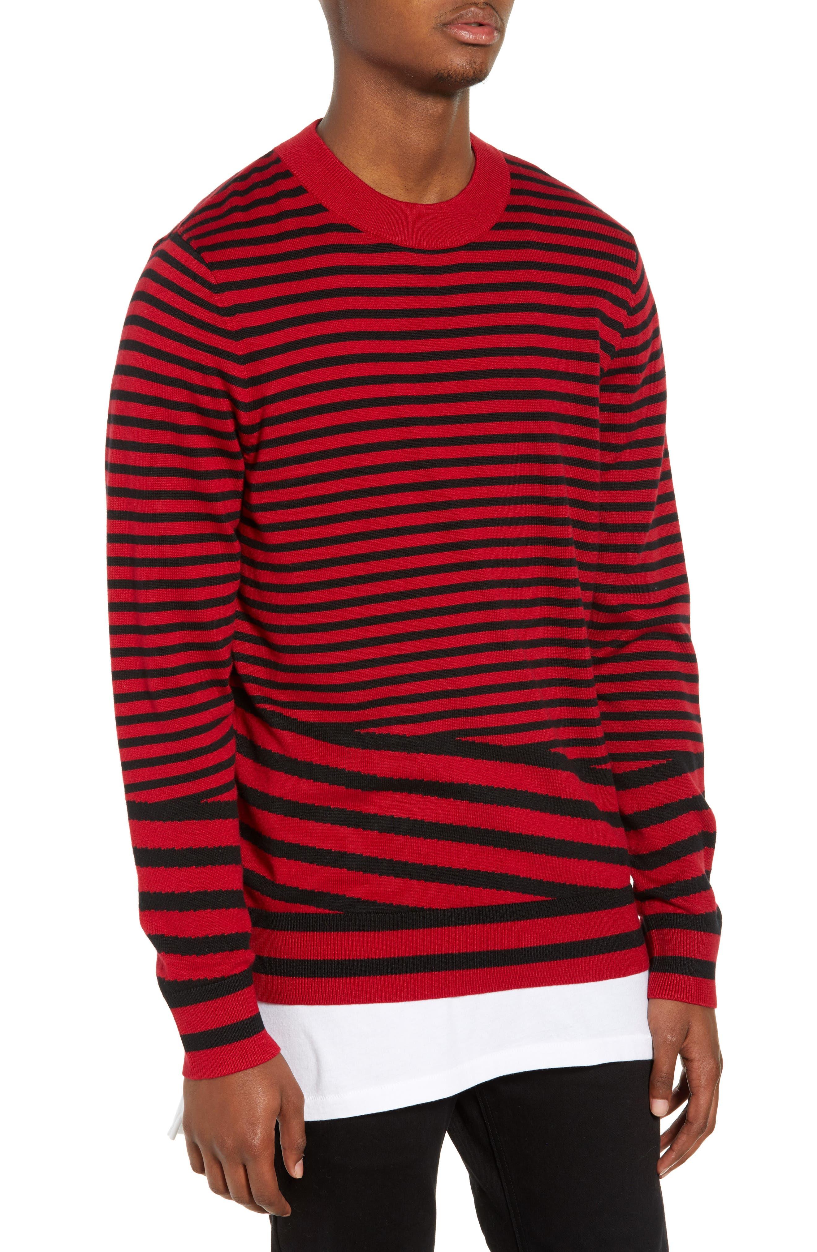 Asymmetrical Stripe Longline Sweater,                             Main thumbnail 1, color,                             RED BLACK RETRO STRIPE