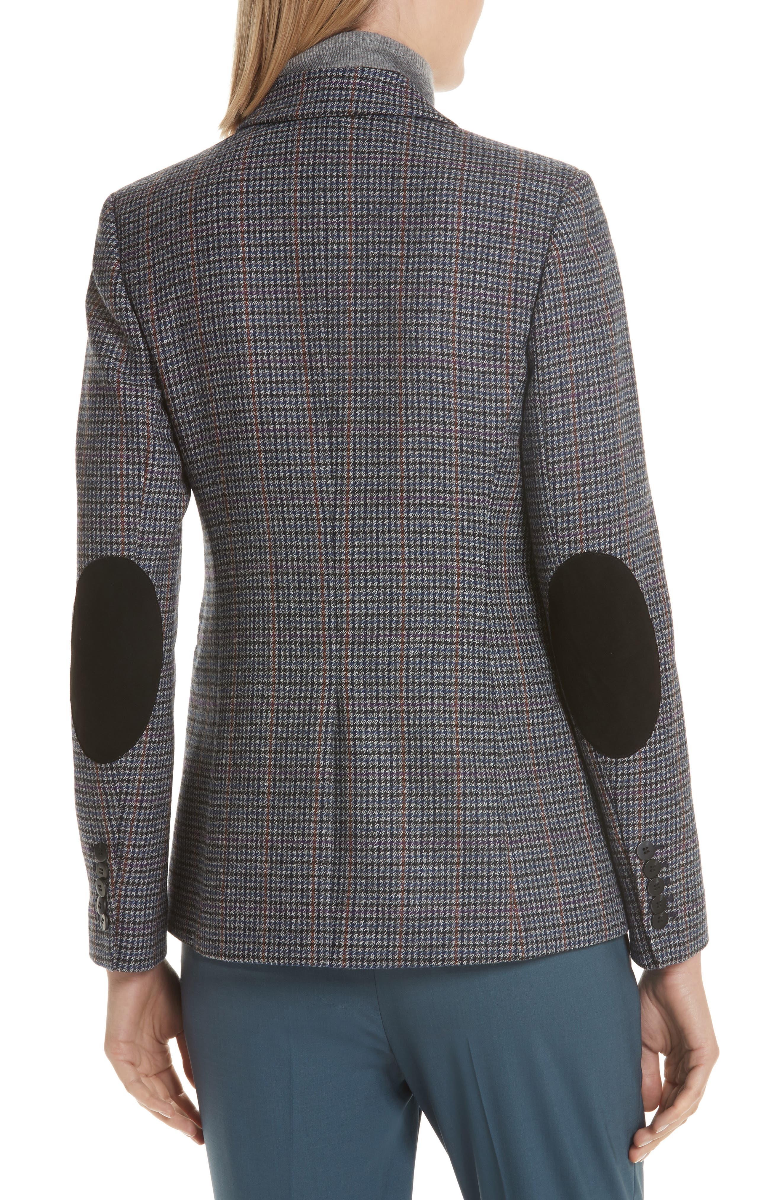 Elbow Patch Plaid Blazer,                             Alternate thumbnail 2, color,                             NAVY NIGHT HOUNDSTOOTH