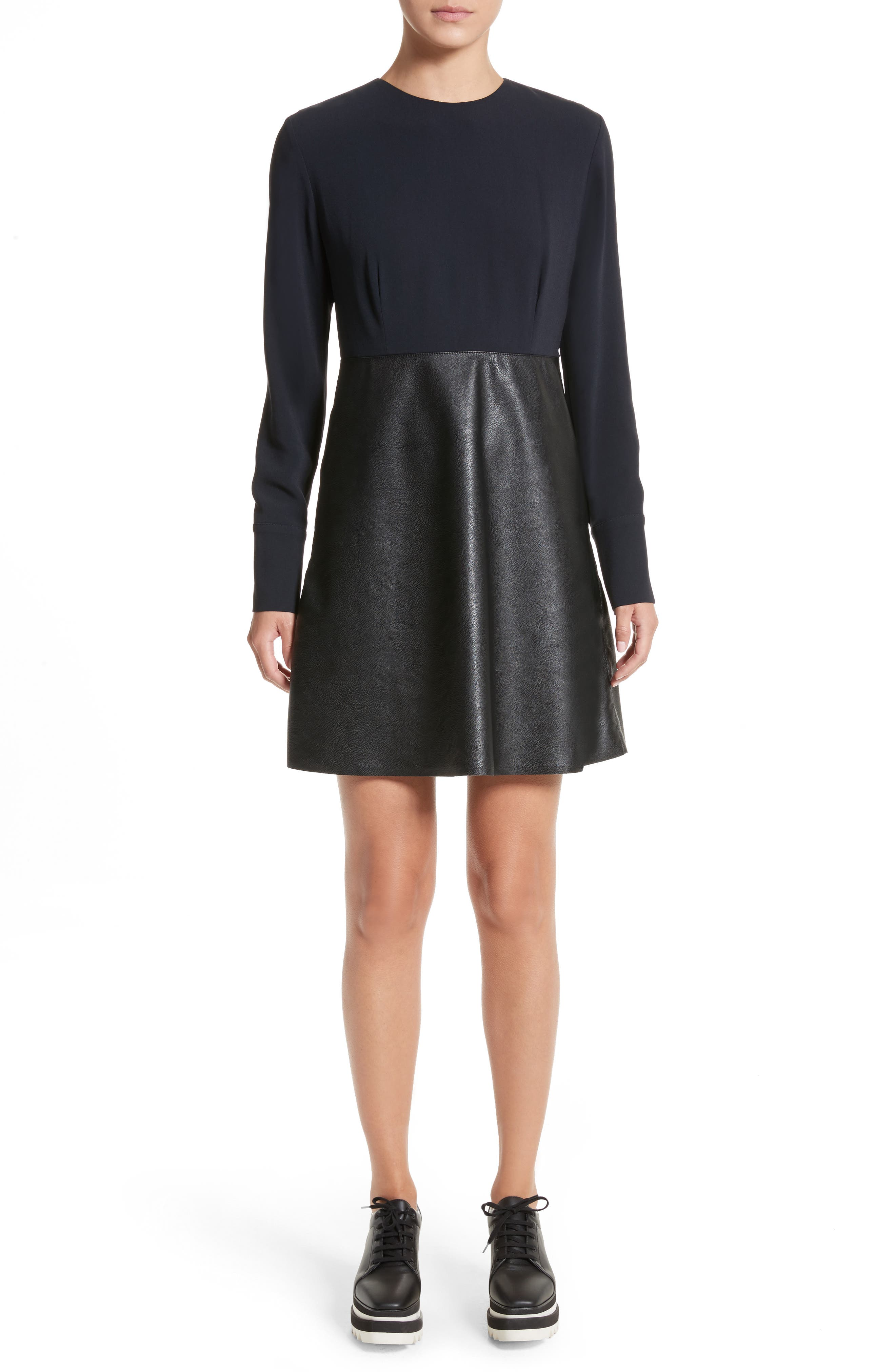 Alter Leather & Stretch Cady Dress,                             Main thumbnail 1, color,                             001