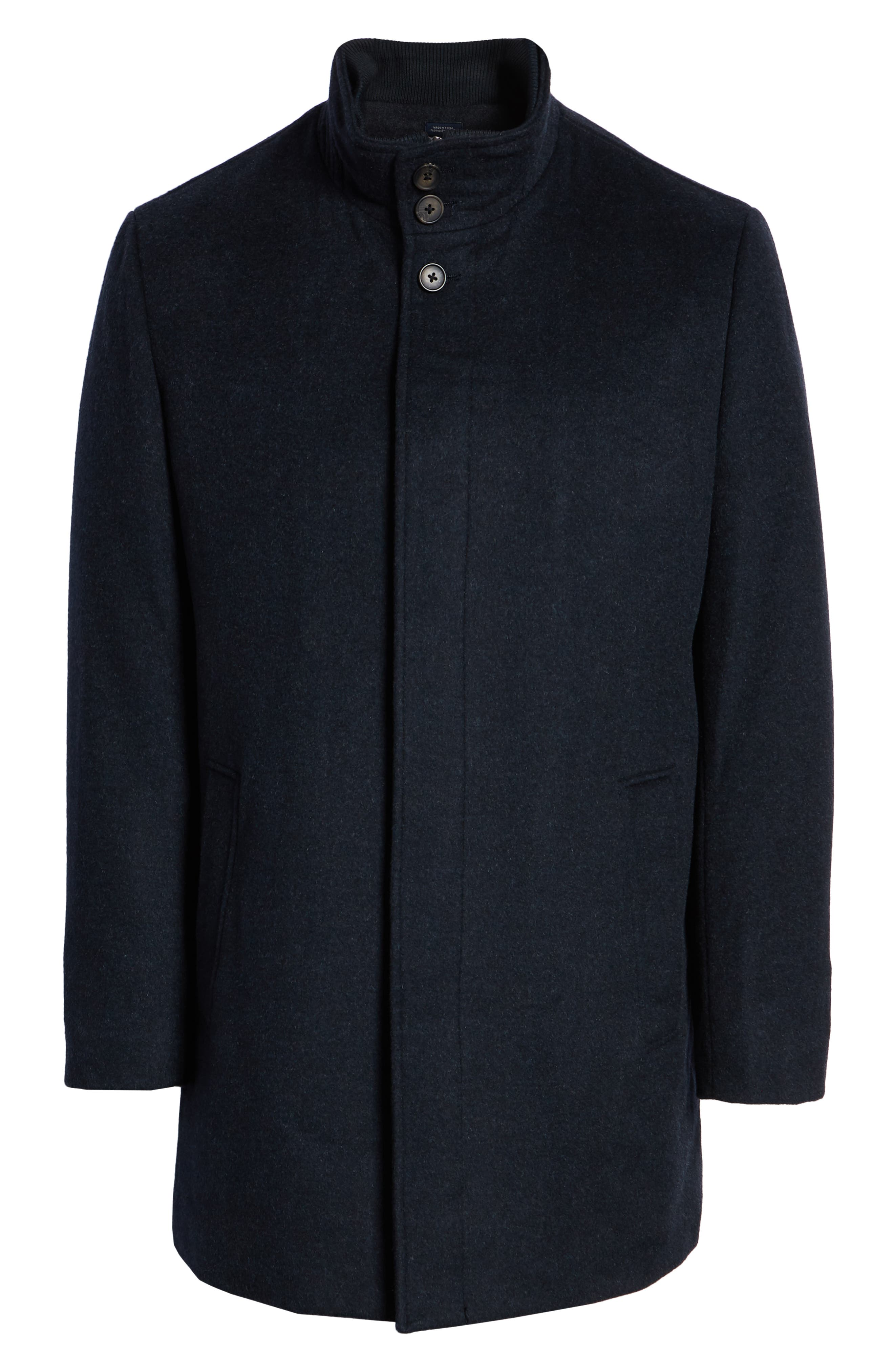 Hudson Wool Car Coat,                             Alternate thumbnail 5, color,                             NAVY MELANGE
