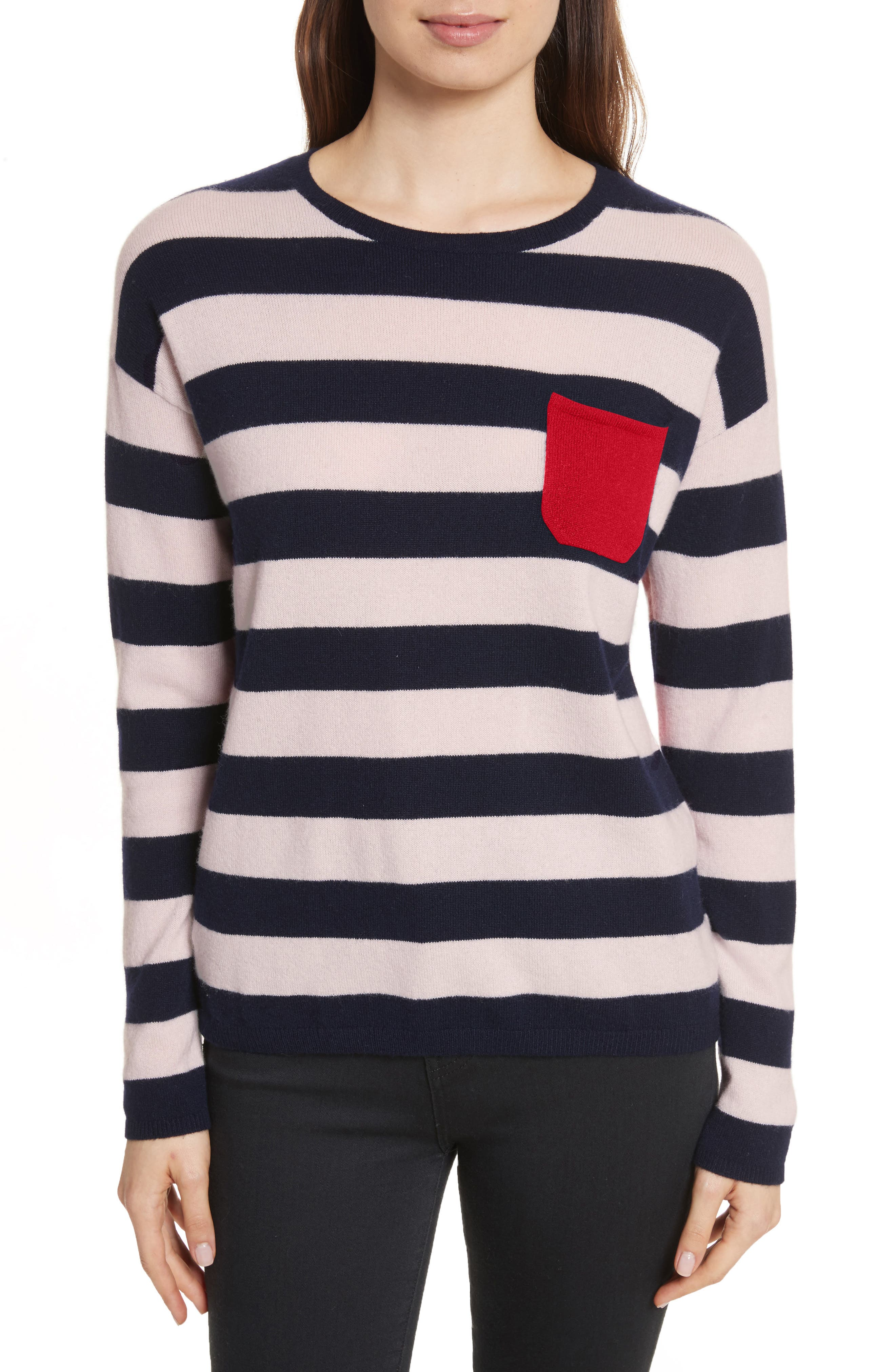 CHINTI & PARKER Navy Pop Stripe Cashmere Sweater,                         Main,                         color, 680