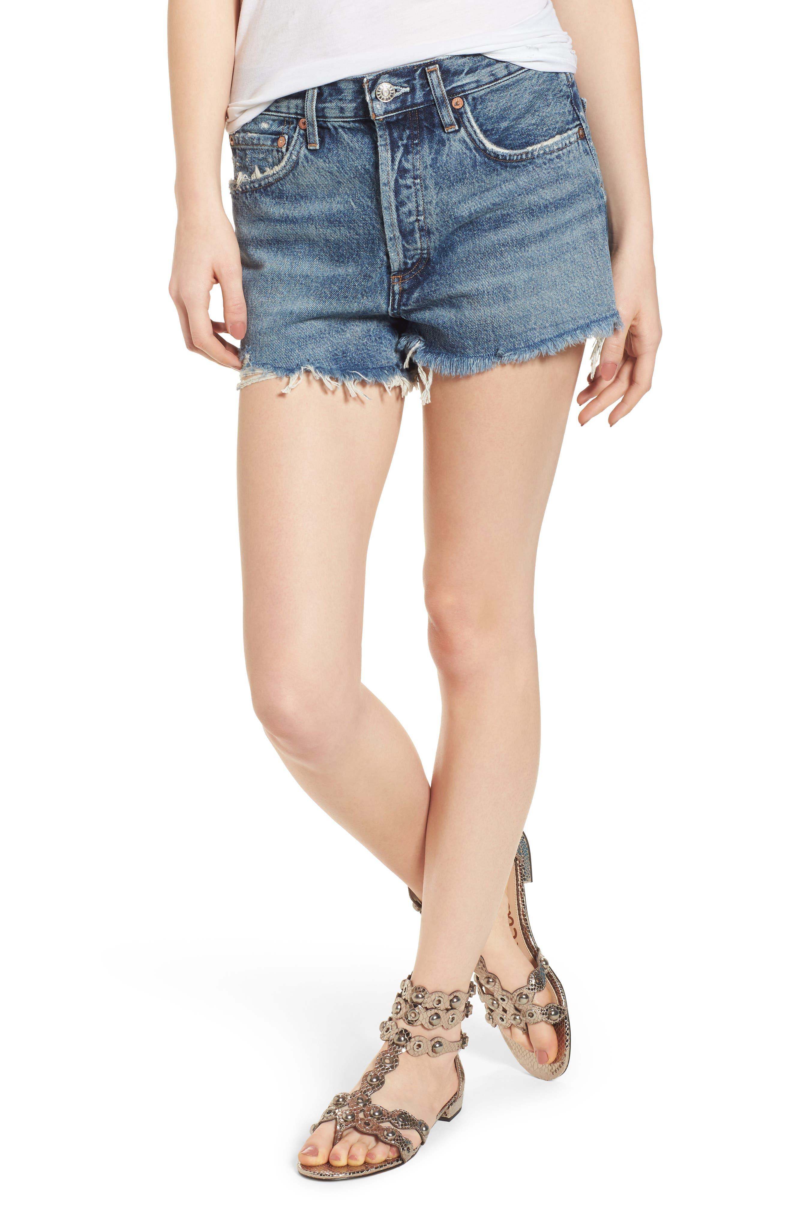 A GOLD E Parker Vintage Denim Cutoff Shorts in Rock Steady
