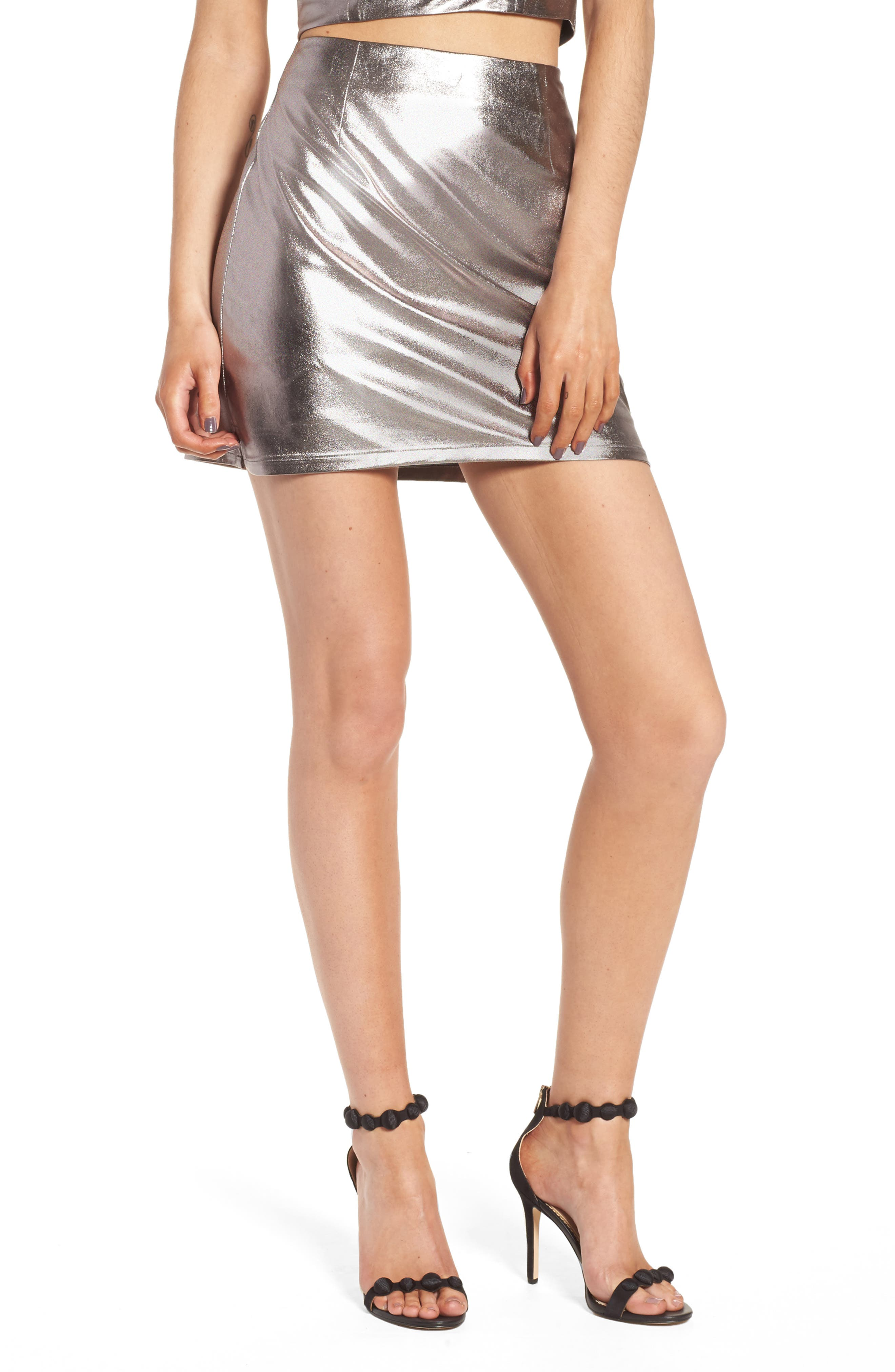 Lovers+ Friends Back to Basics Silver Miniskirt,                         Main,                         color, 020
