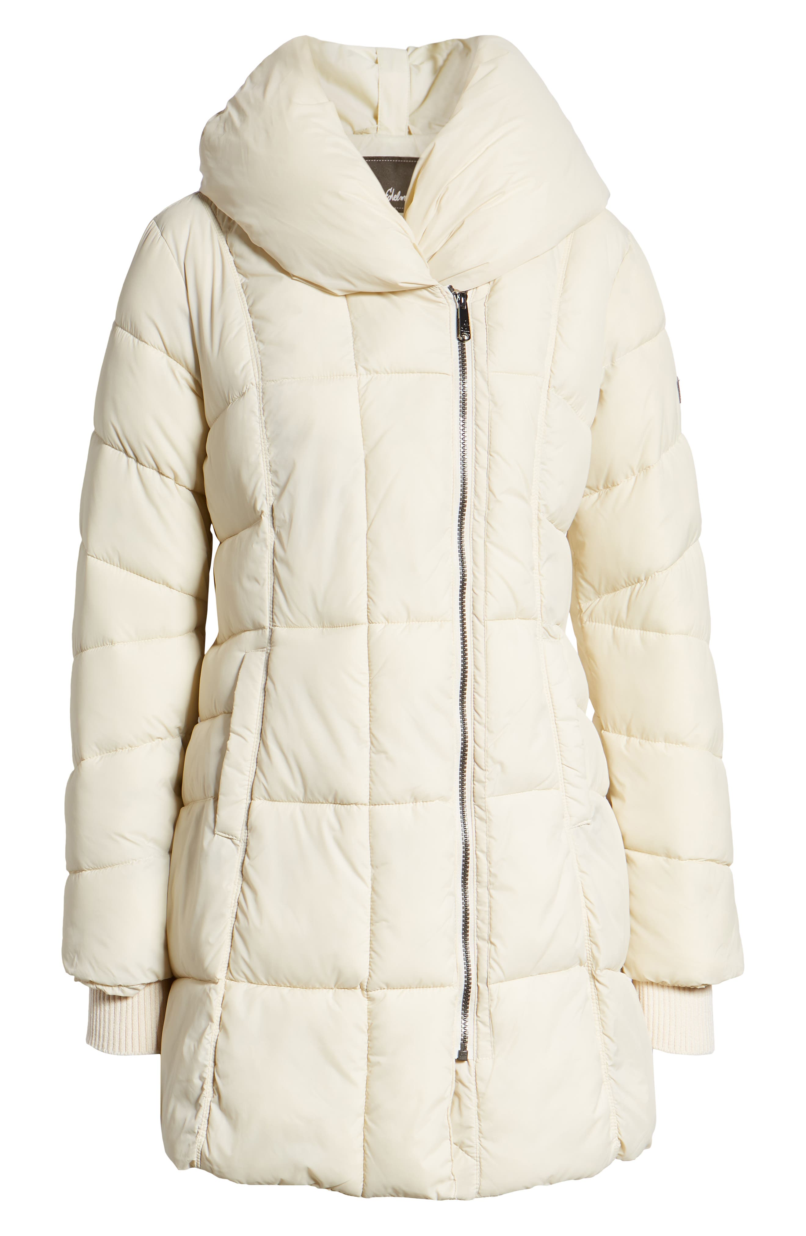 Pillow Collar Puffer Coat,                             Alternate thumbnail 6, color,                             IVORY