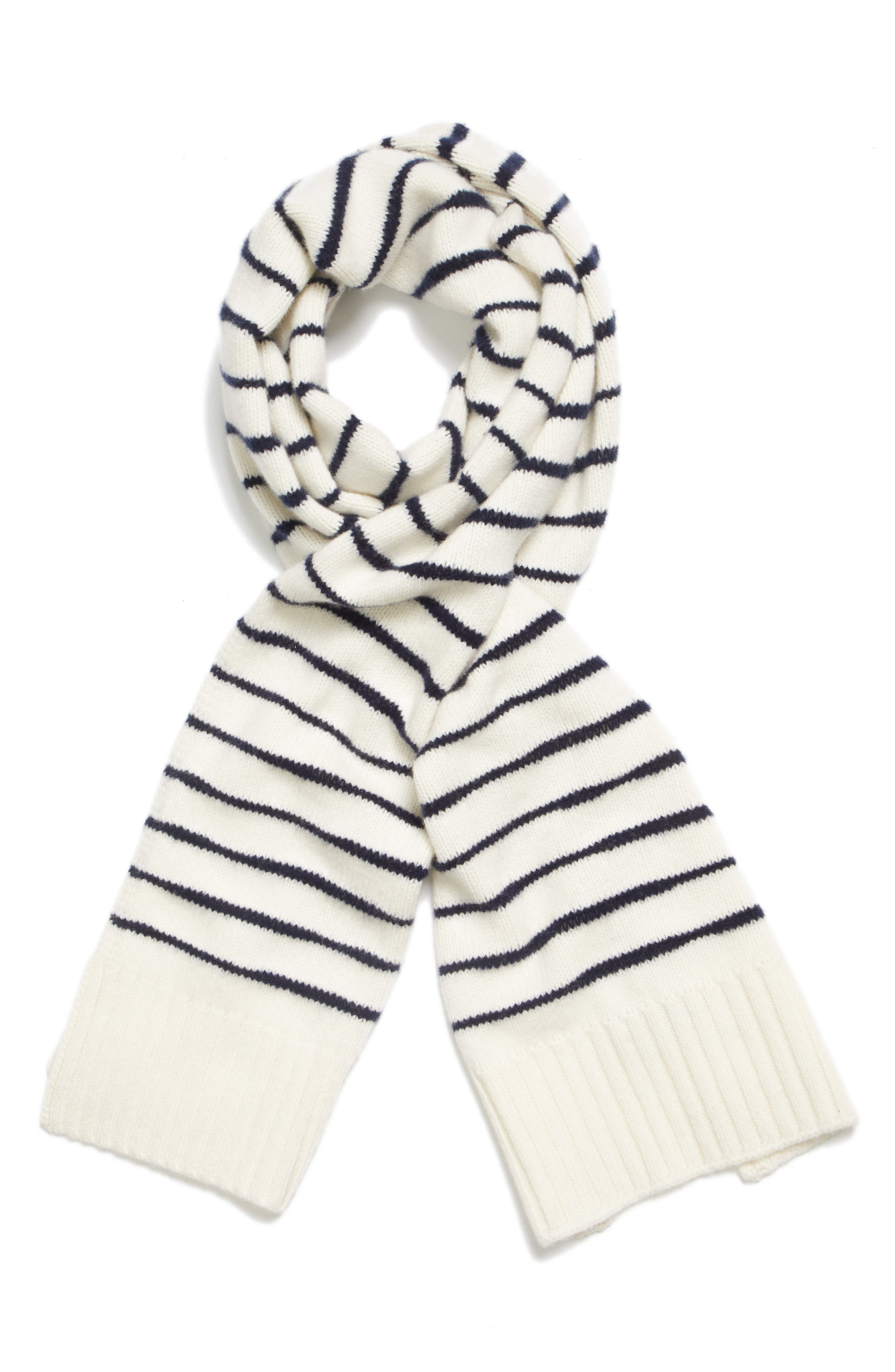 Sam Lambswool Scarf,                             Alternate thumbnail 2, color,                             IVORY/ NAVY