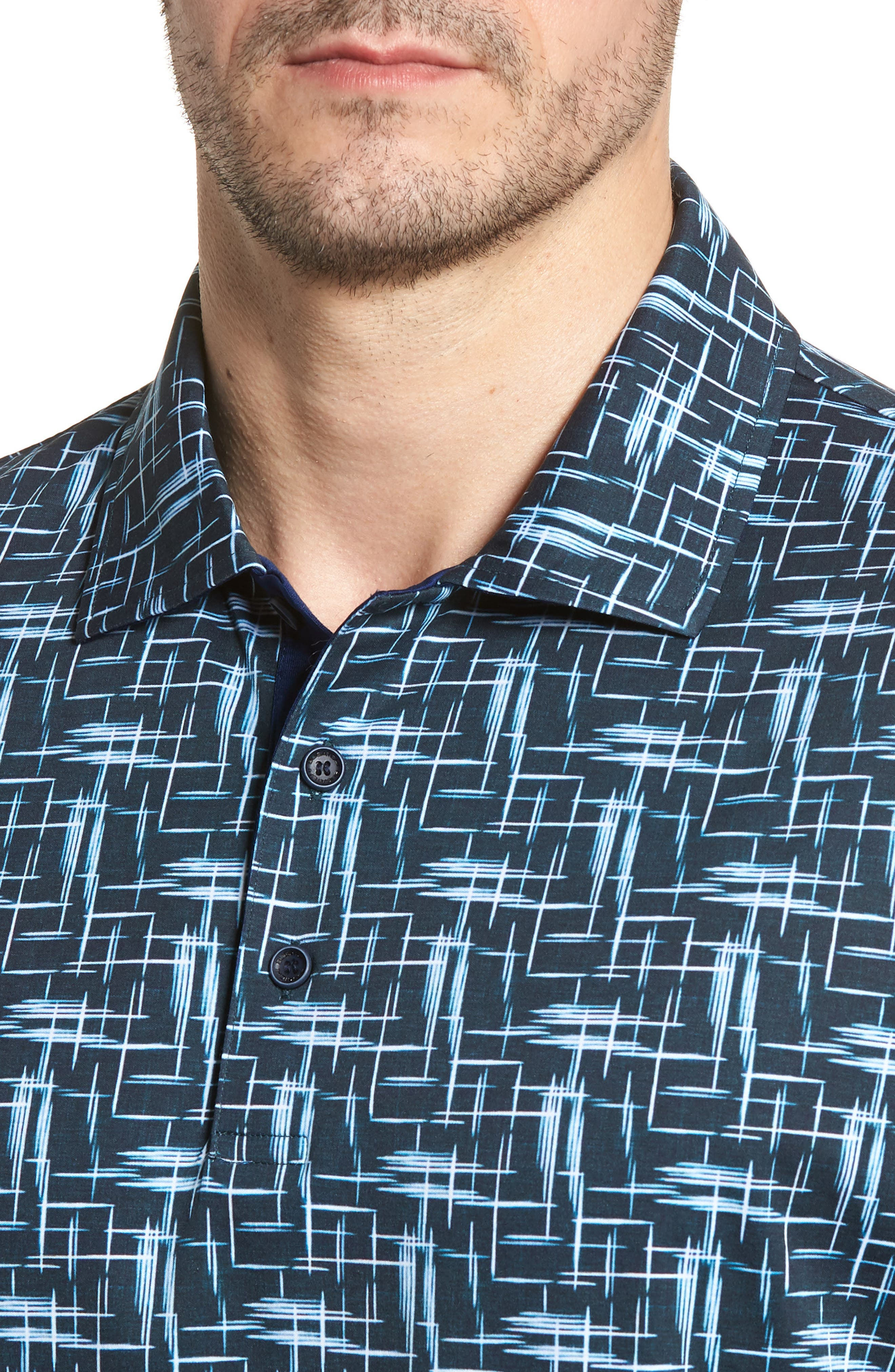 Classic Fit Broken Lines Polo,                             Alternate thumbnail 4, color,                             411