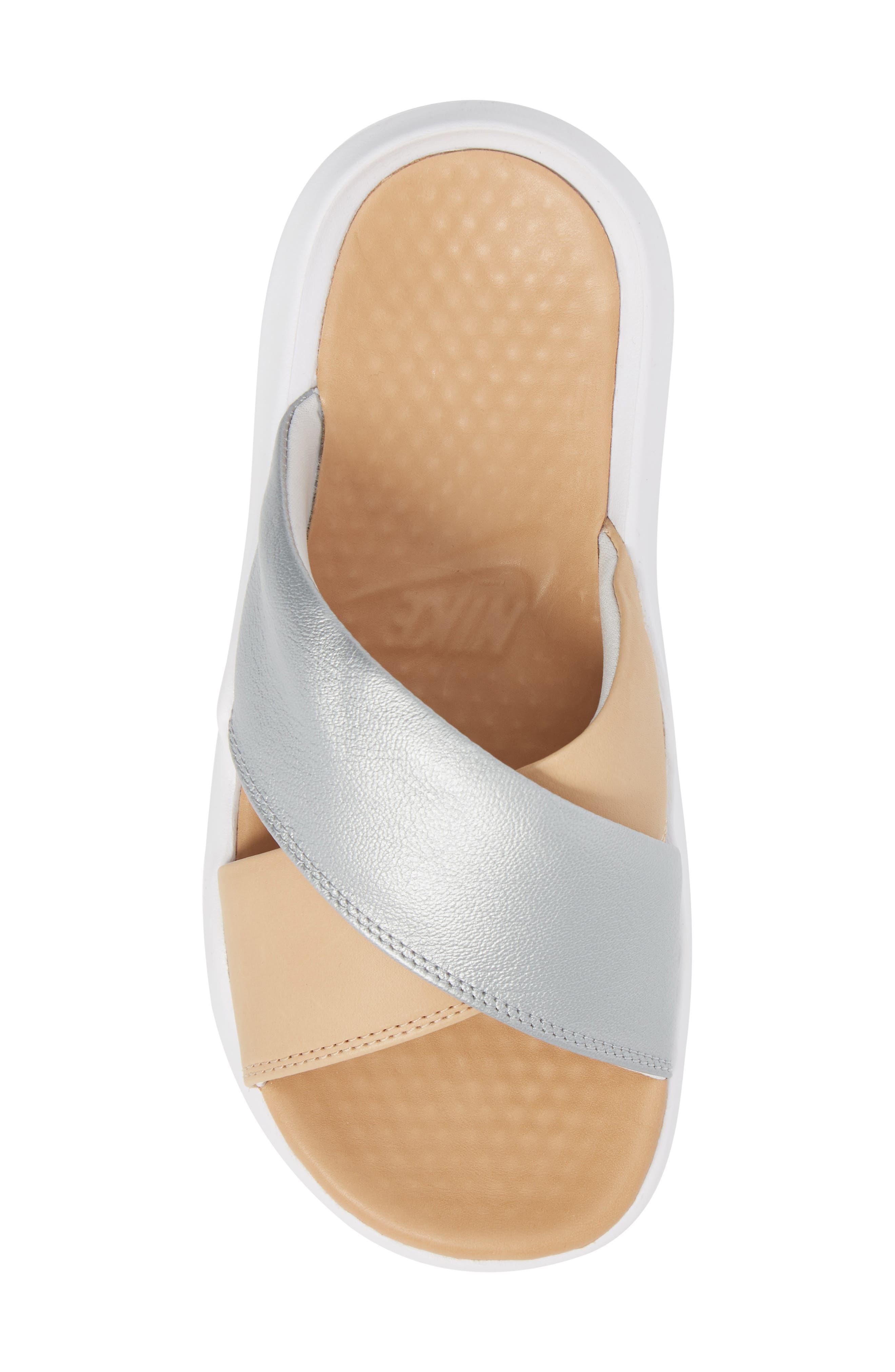 Nordstrom x Nike Benassi Future Cross SE Premium Slide,                             Alternate thumbnail 5, color,                             METALLIC SILVER/ BIO BEIGE