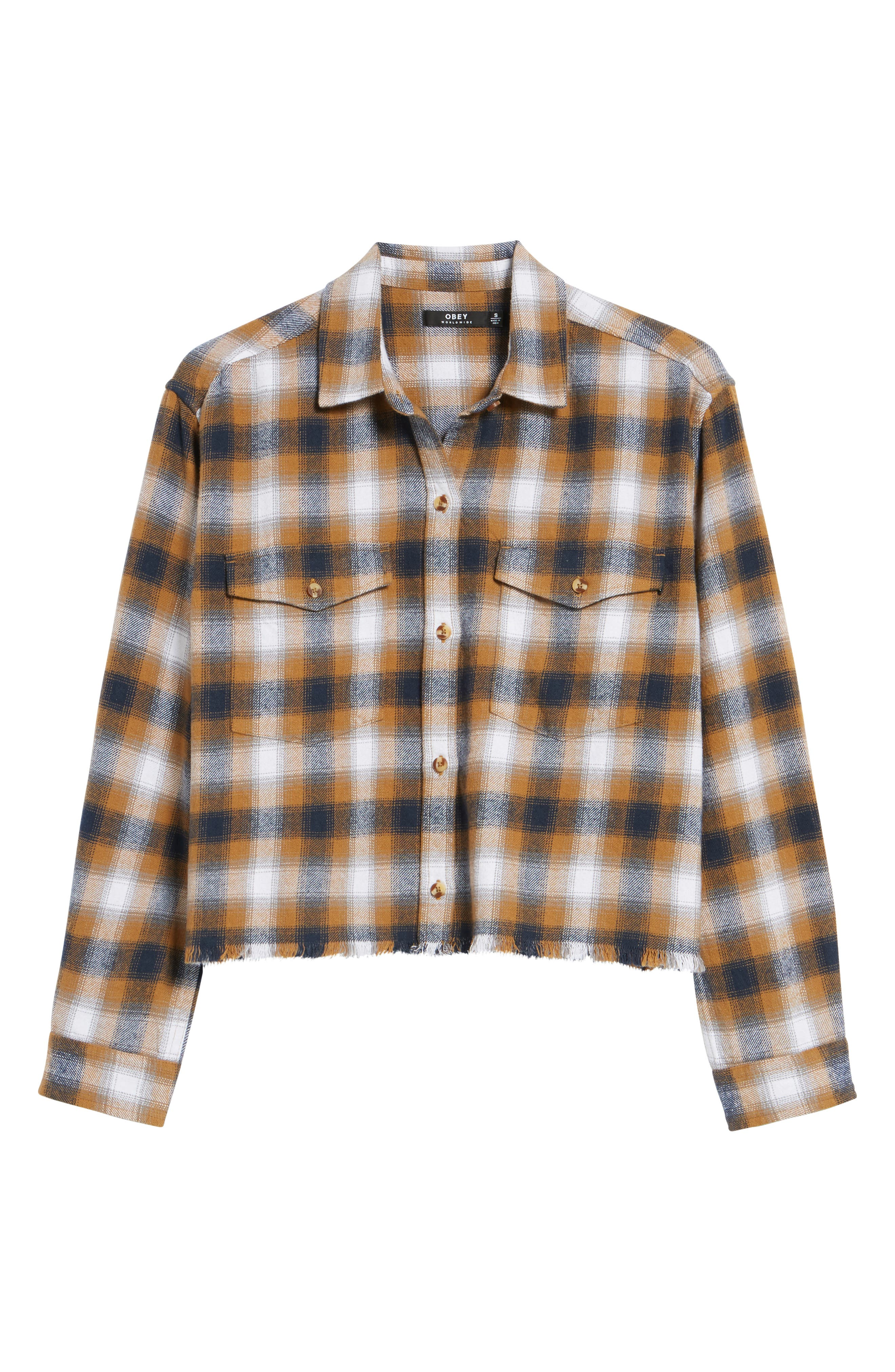 Cassius Crop Flannel Shirt,                             Alternate thumbnail 5, color,