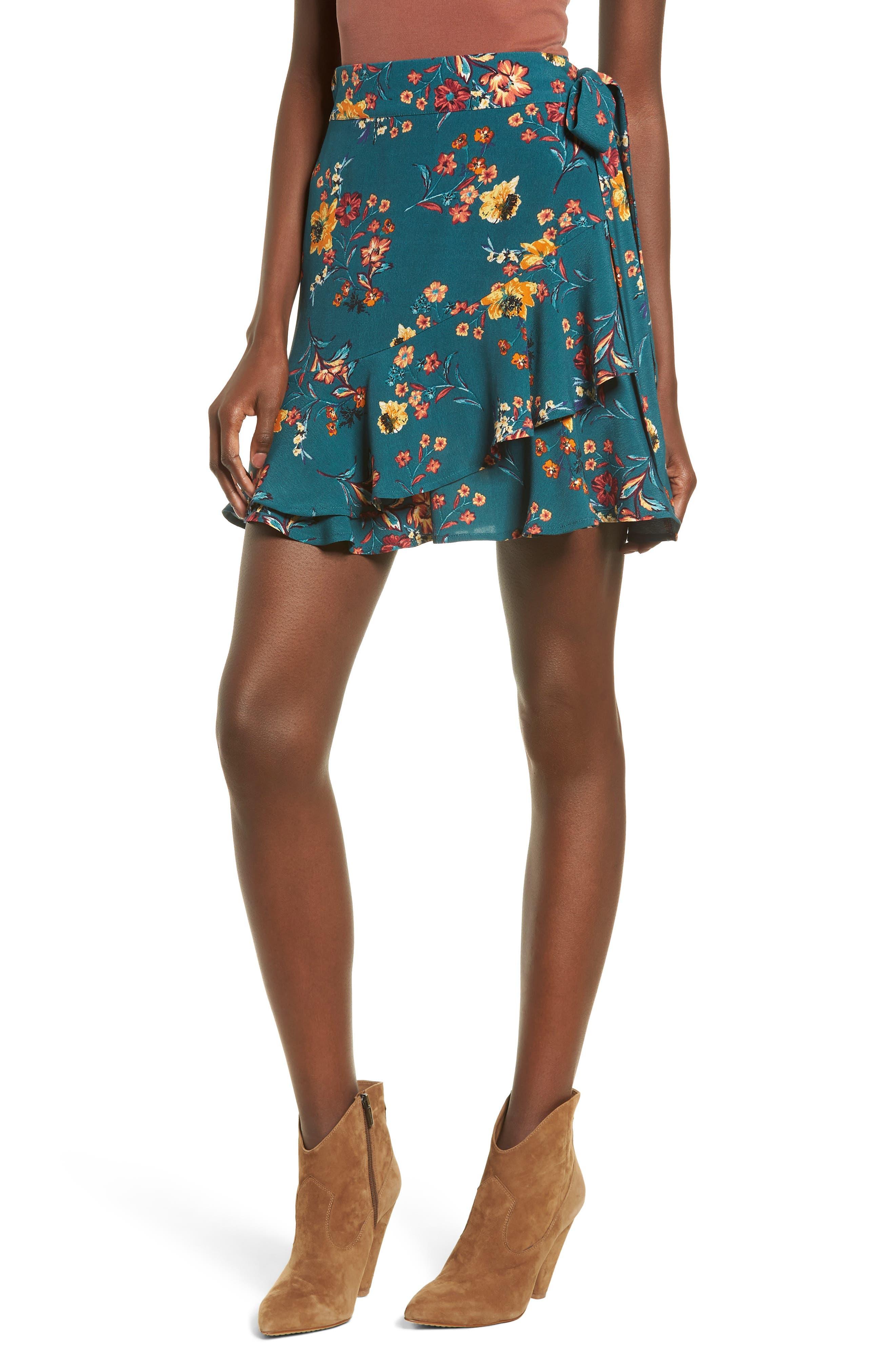 Aviana Ruffle Wrap Skirt, Main, color, 348