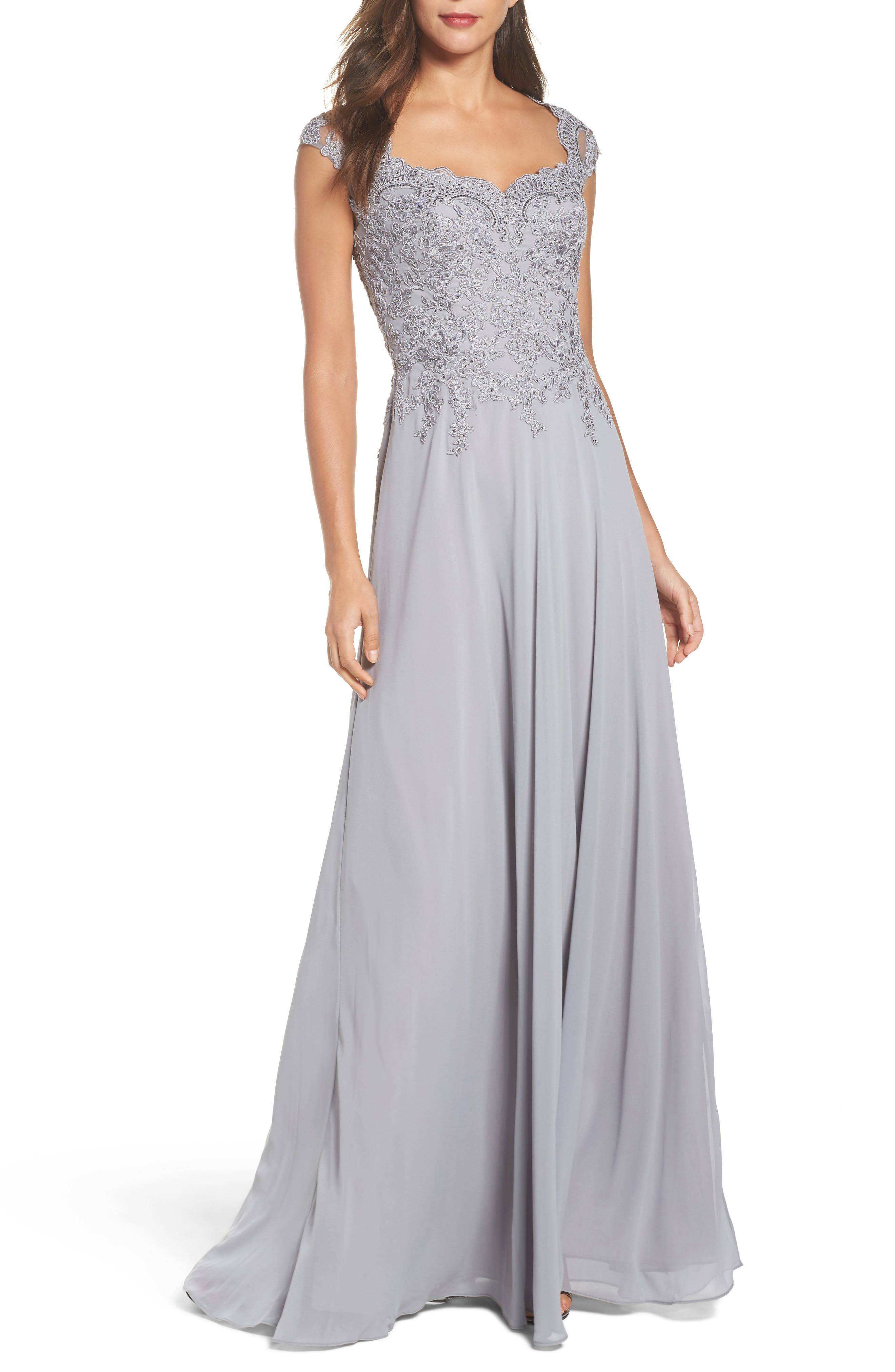 La Femme Embellished Cap Sleeve Gown, Metallic