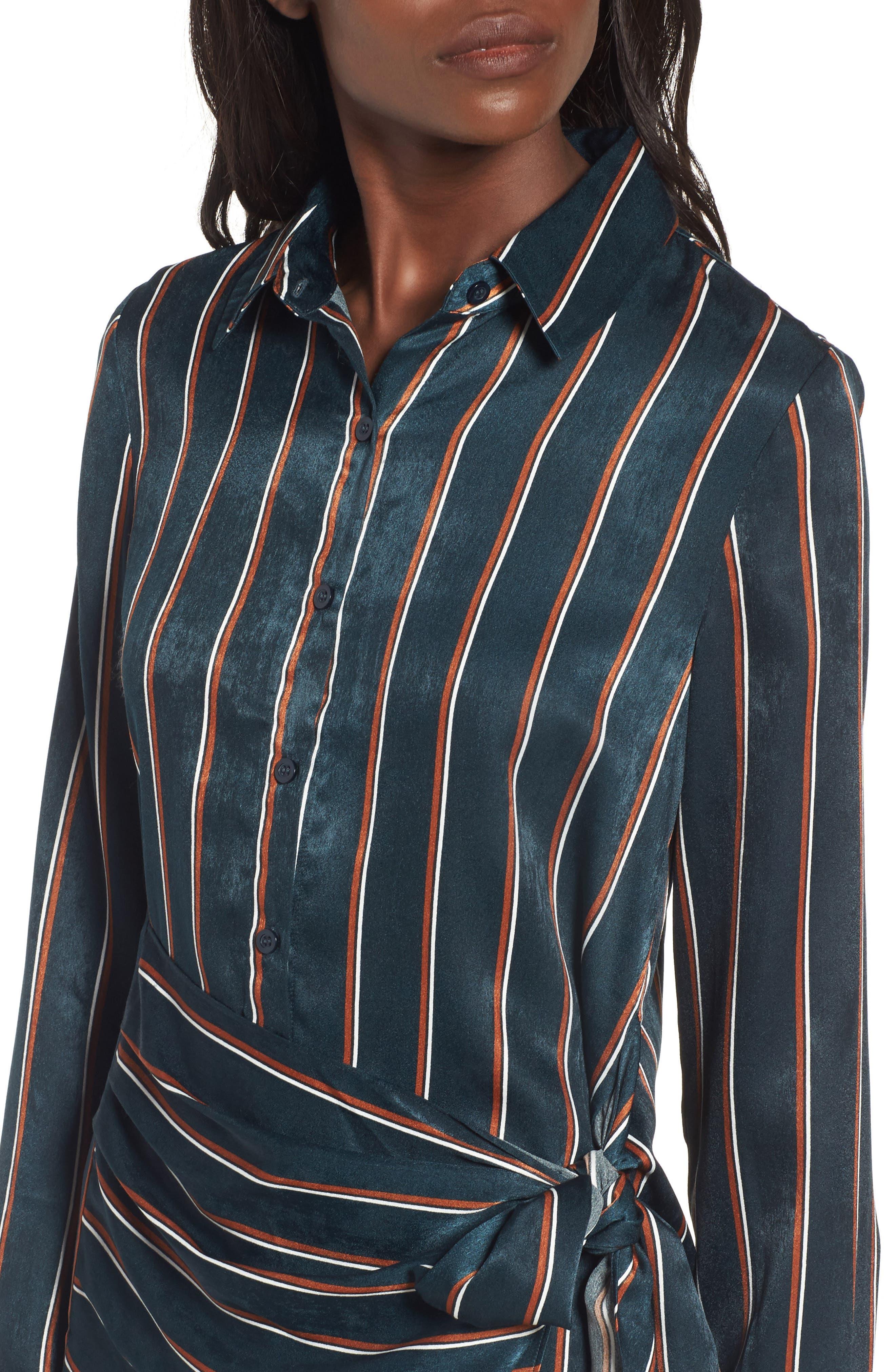 Tie Front Stripe Shirtdress,                             Alternate thumbnail 4, color,                             360