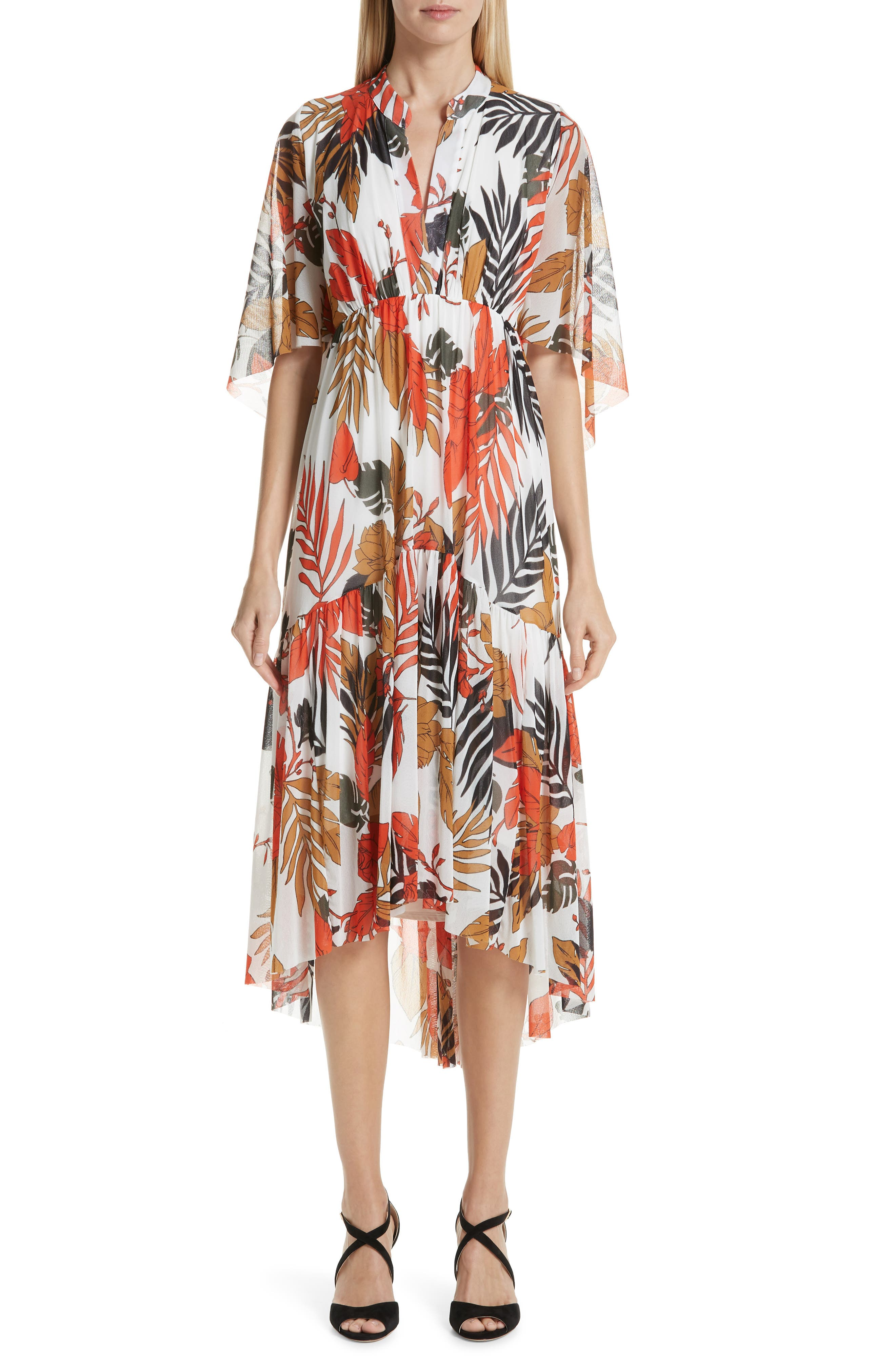 Fuzzi Palm Print High/low Hem Dress, White