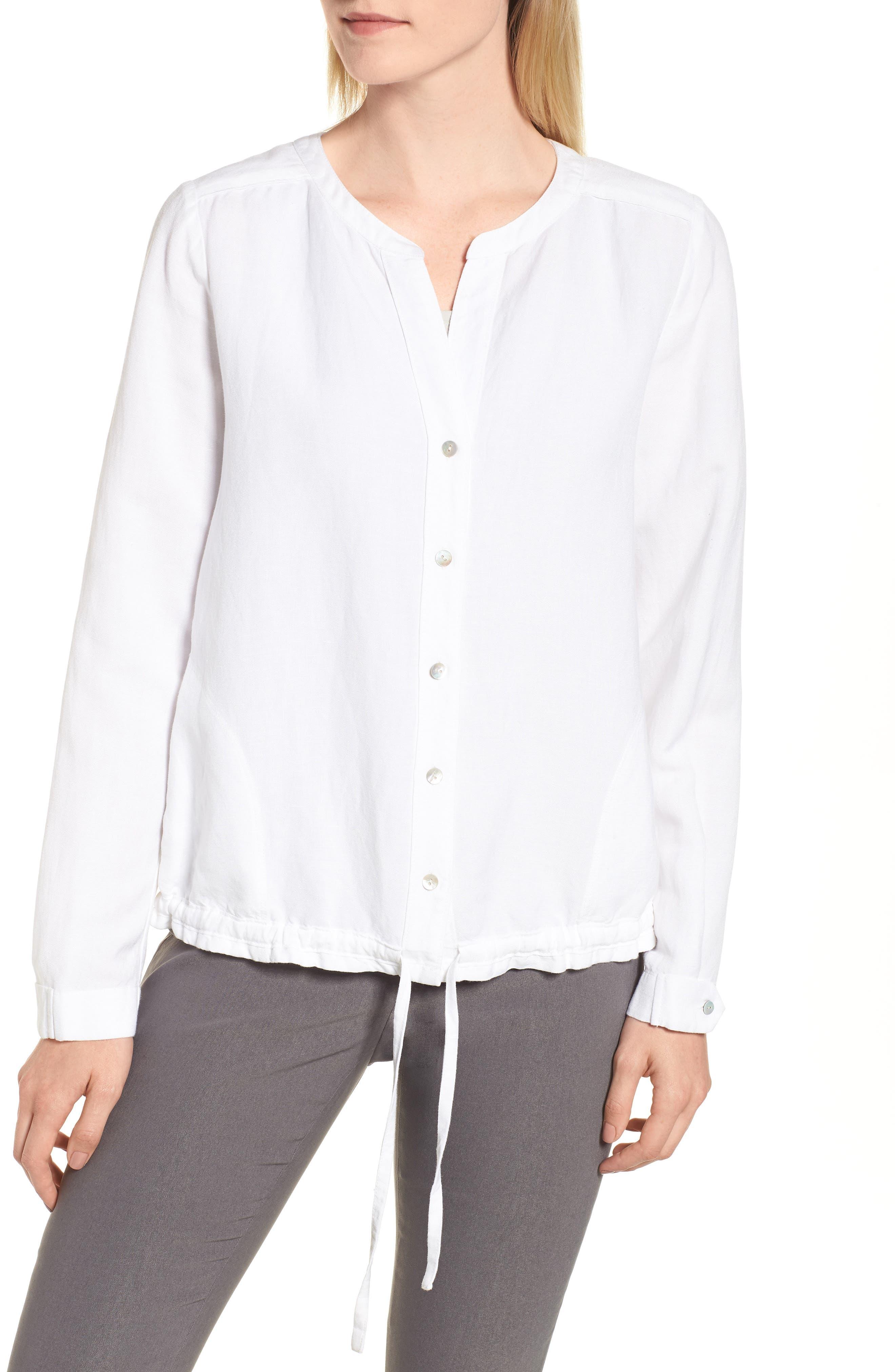Homebound Linen Blend Drawstring Jacket,                             Alternate thumbnail 4, color,                             PAPER WHITE