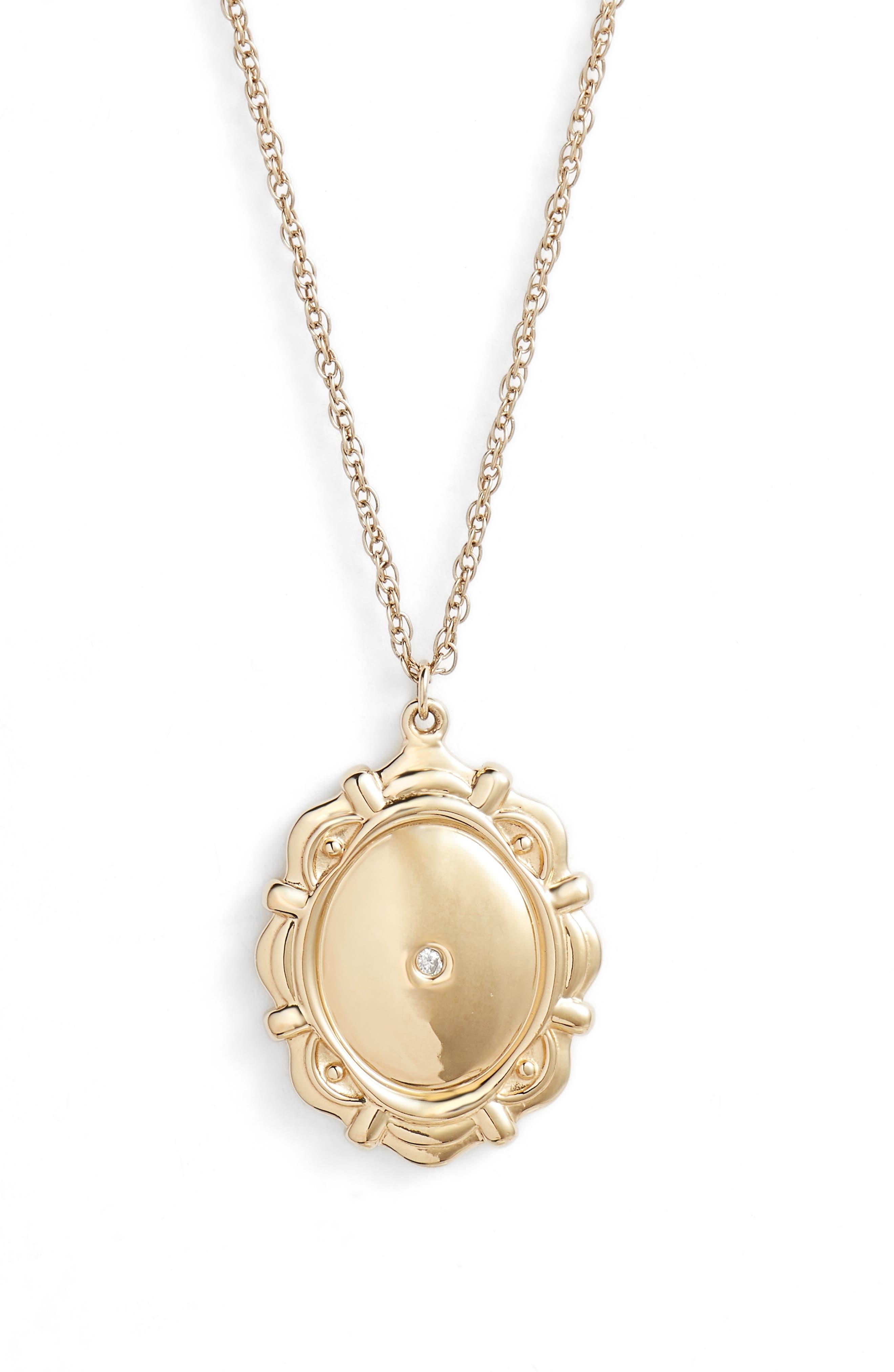 Zuri Medallion Diamond Pendant Necklace,                             Main thumbnail 1, color,                             YELLOW VERMEIL