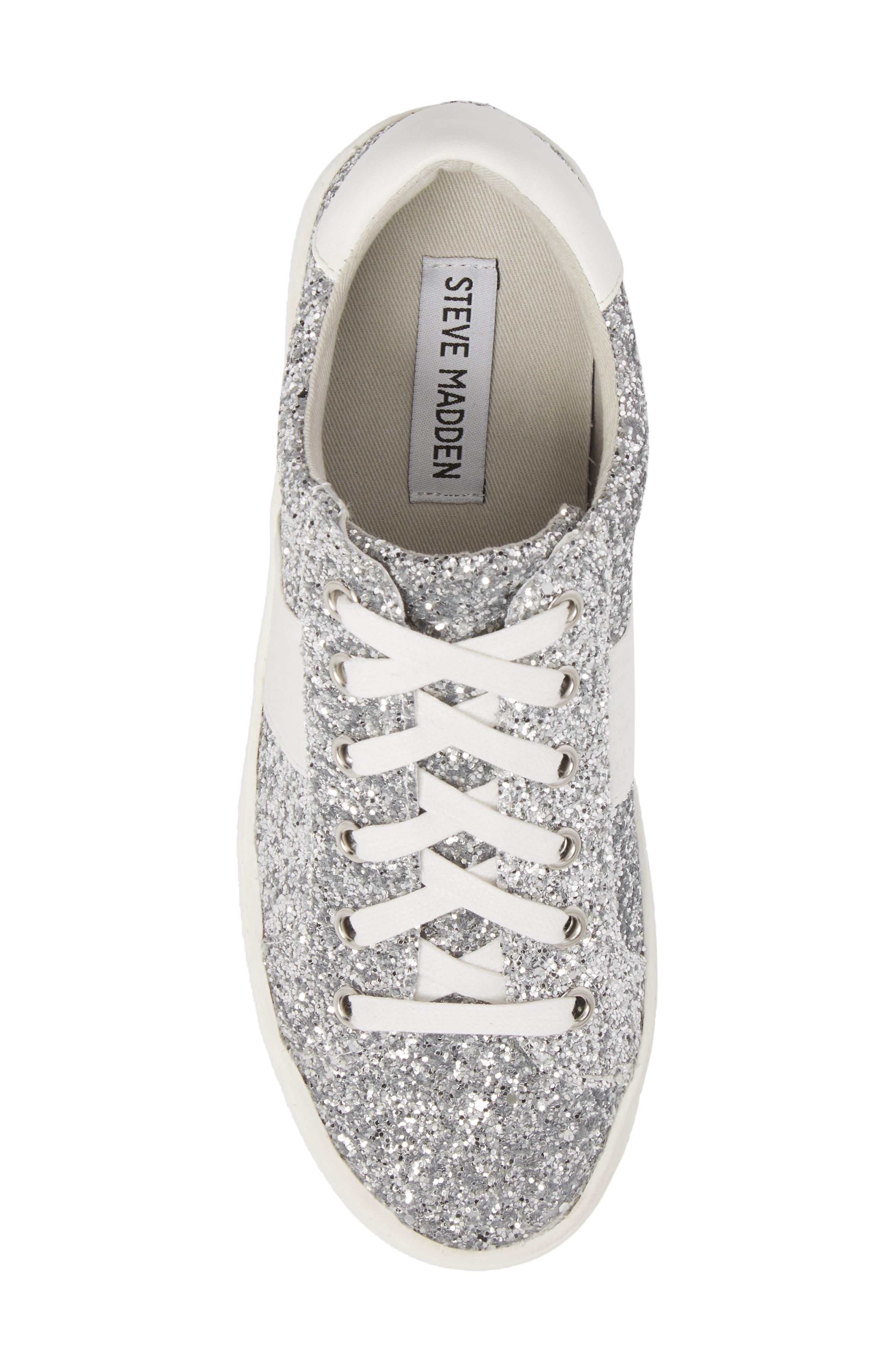 Belle-G Glitter Platform Sneaker,                             Alternate thumbnail 5, color,                             SILVER GLITTER