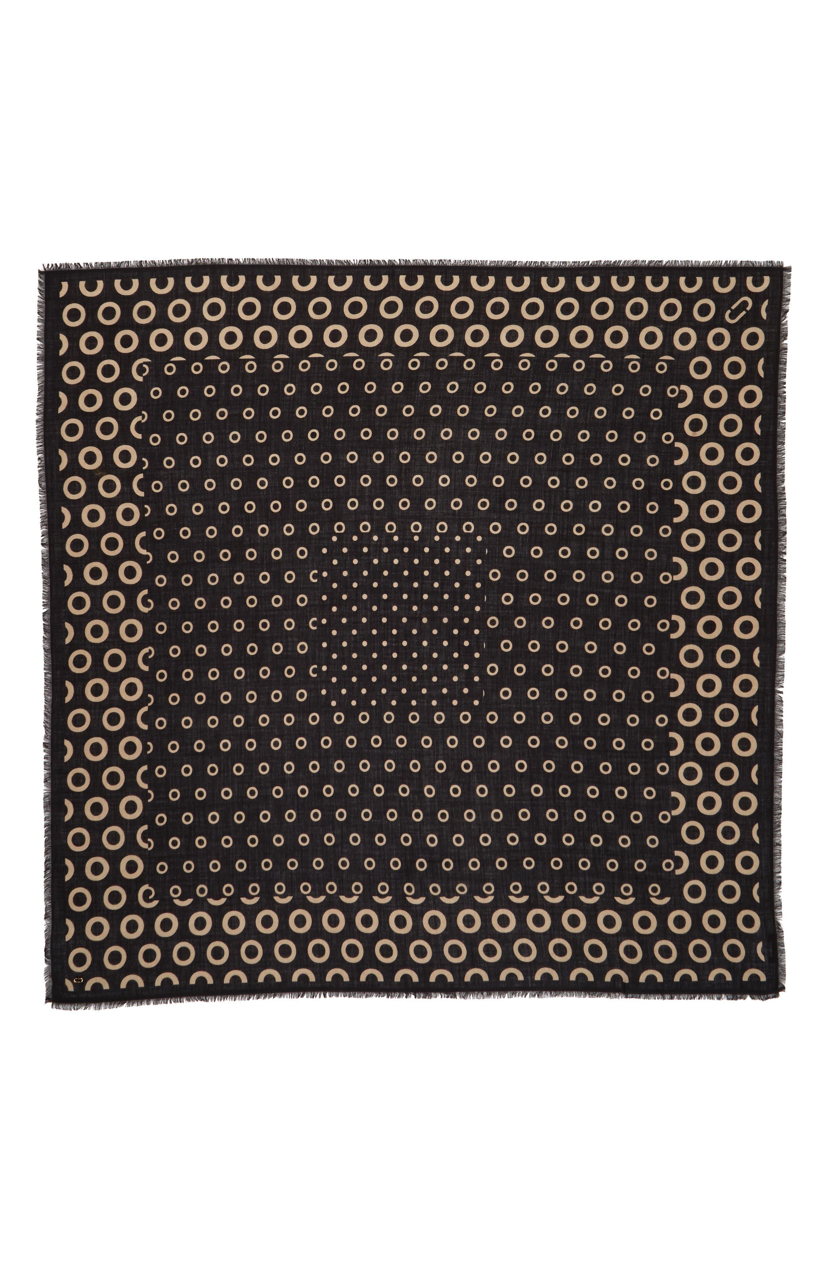 Dots & Rings Wool Scarf,                             Main thumbnail 1, color,                             001