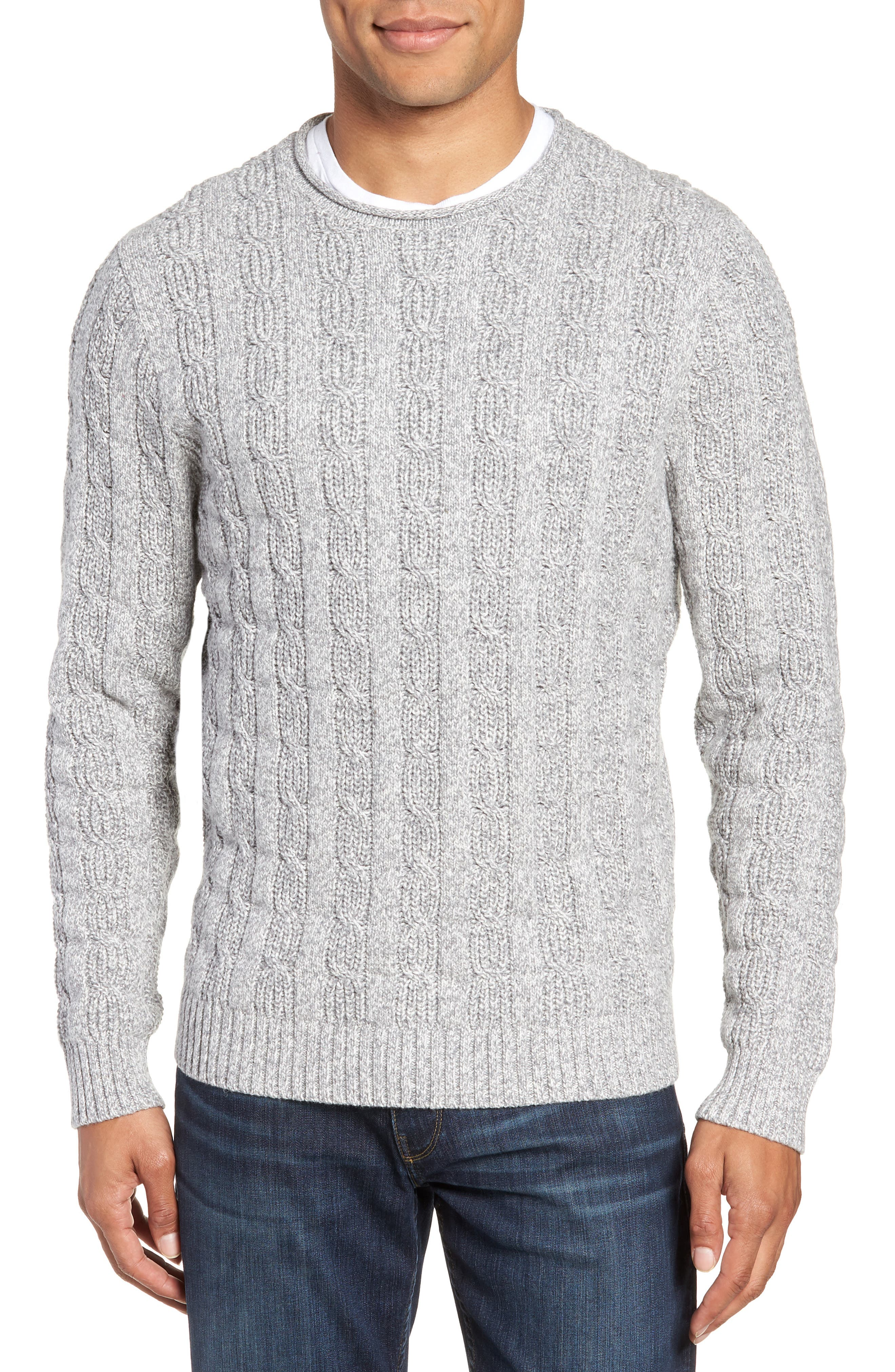 Nordstrom Shop Cable Knit Crewneck Sweater, Grey
