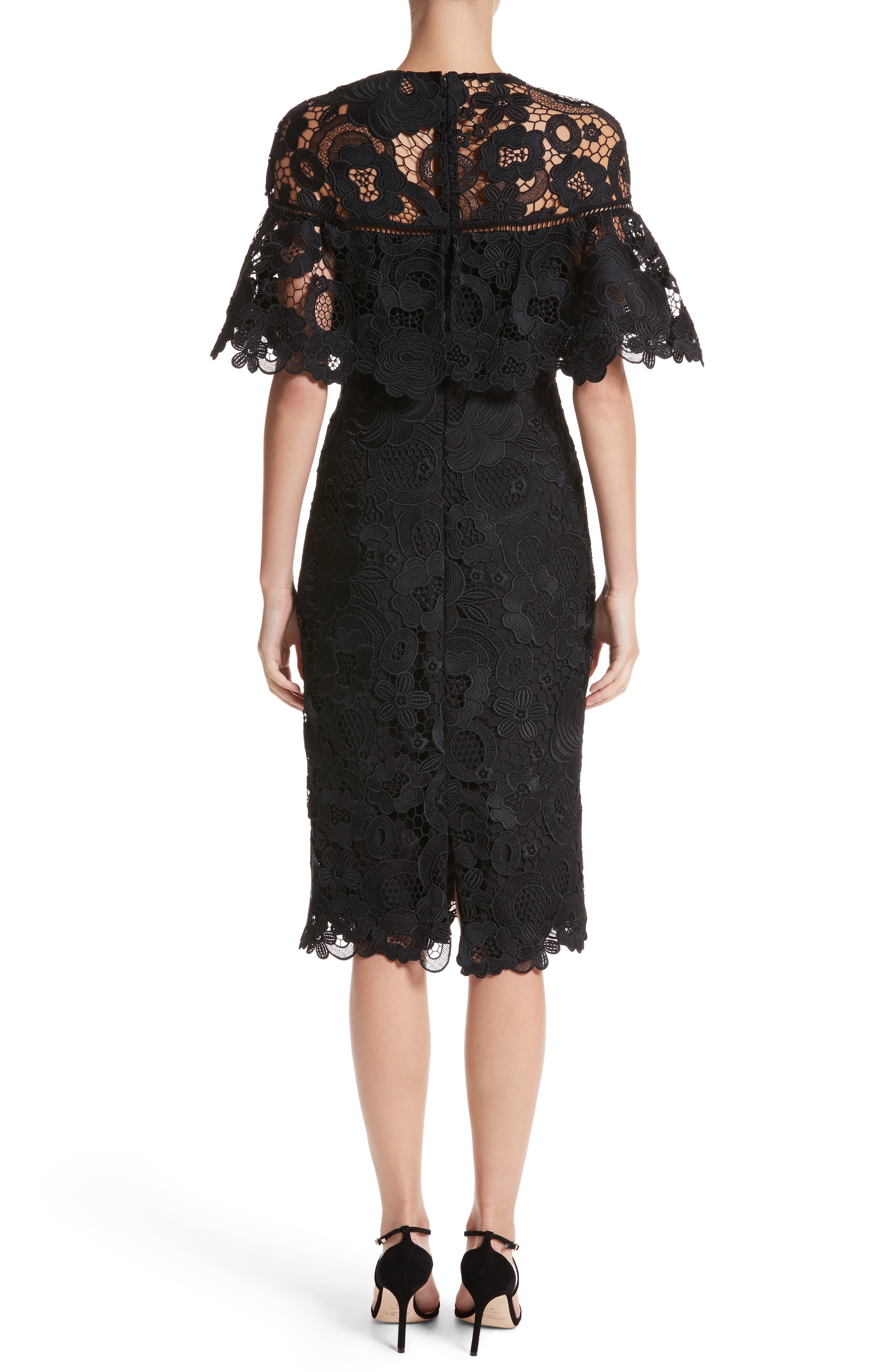 Lace Capelet Sheath Dress,                             Alternate thumbnail 2, color,                             001