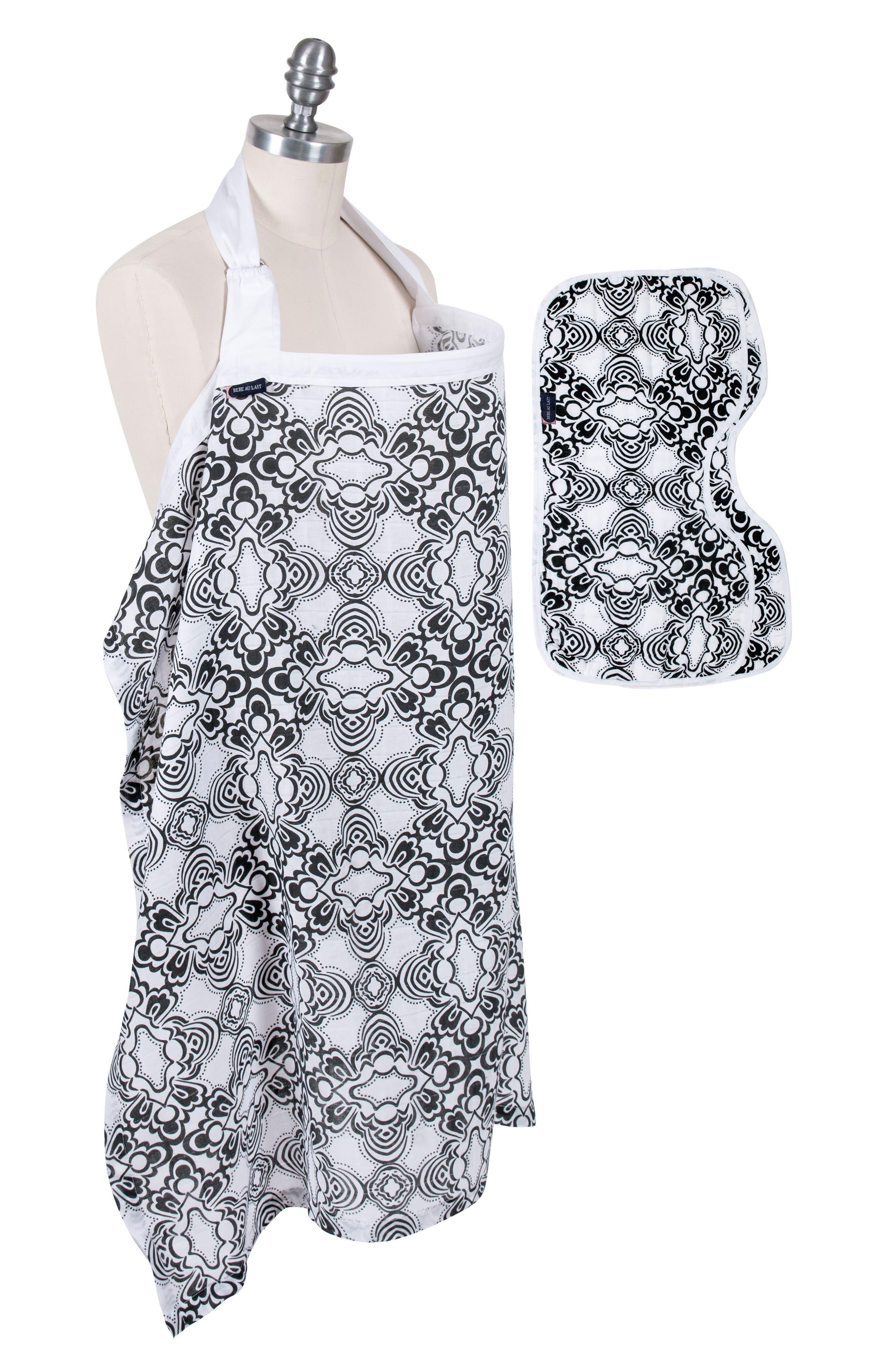 Muslin Nursing Cover & Burp Cloth Set,                         Main,                         color, 001