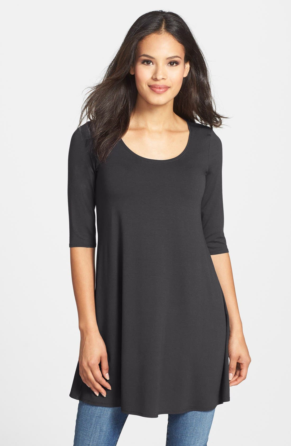 Scoop Neck Elbow Sleeve Jersey Tunic,                         Main,                         color,