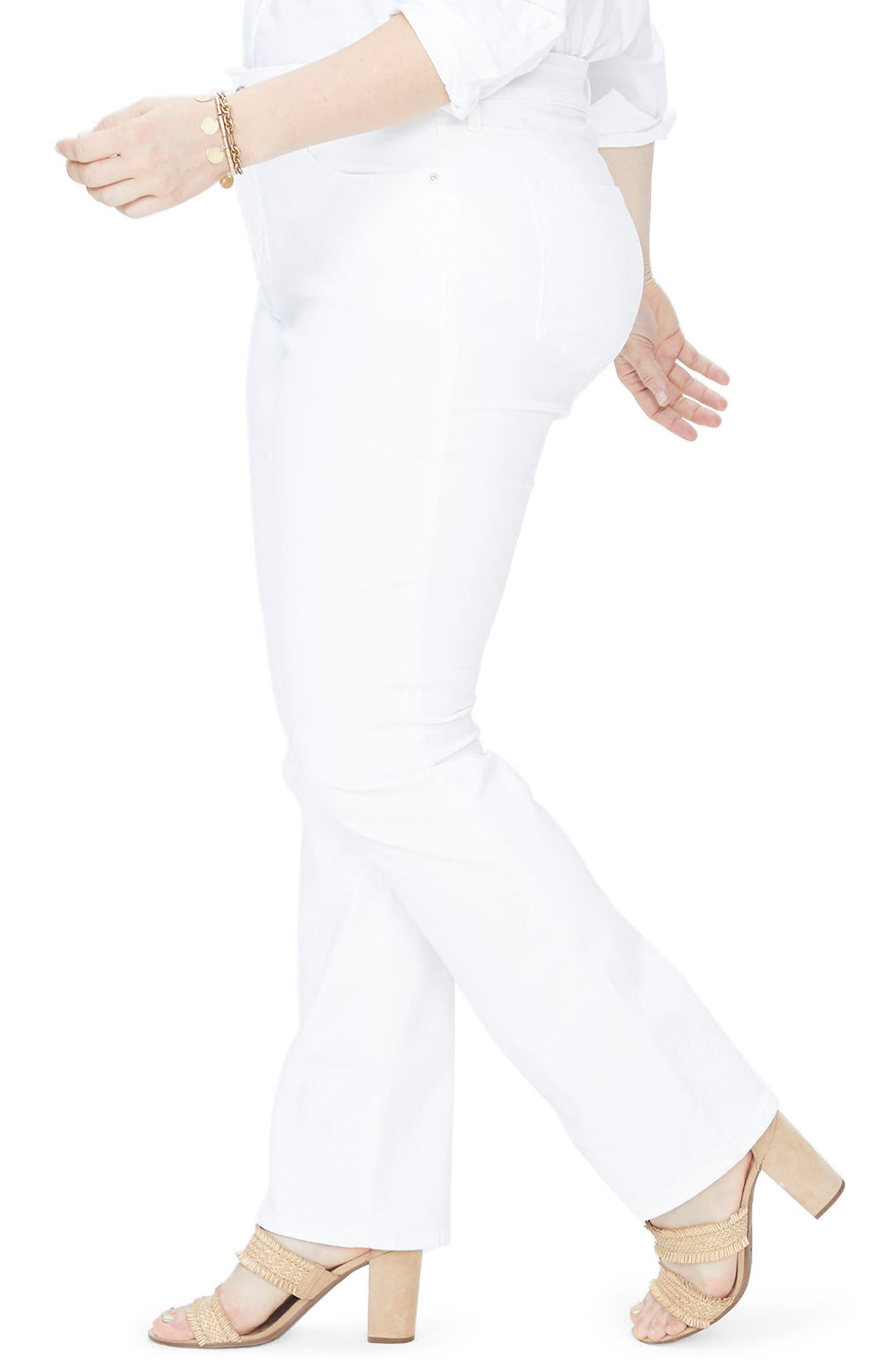 Marilyn Stretch Straight Leg Jeans,                             Alternate thumbnail 3, color,                             OPTIC WHITE