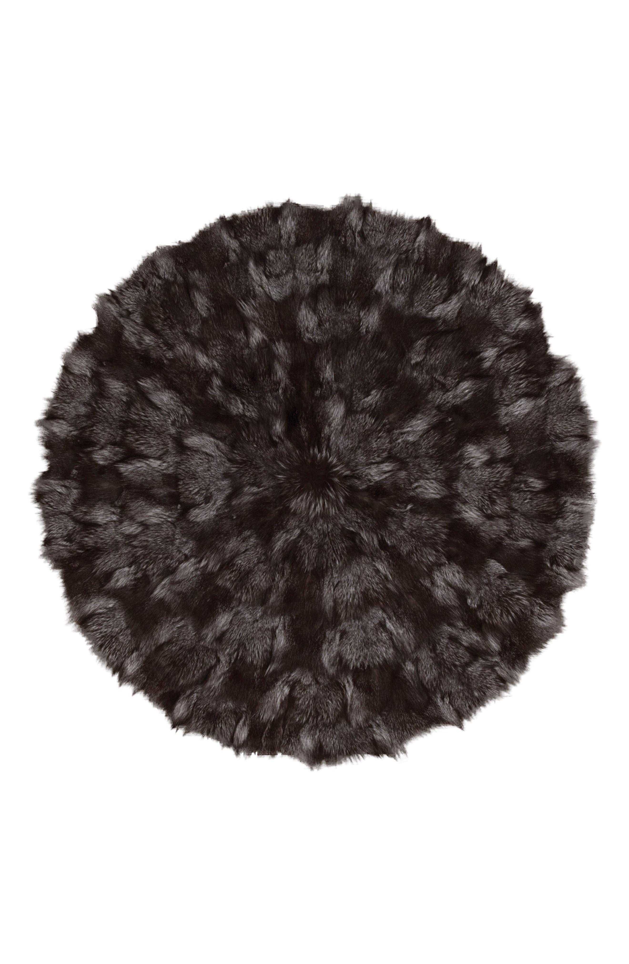 Genuine Fox Fur Round Rug,                         Main,                         color,