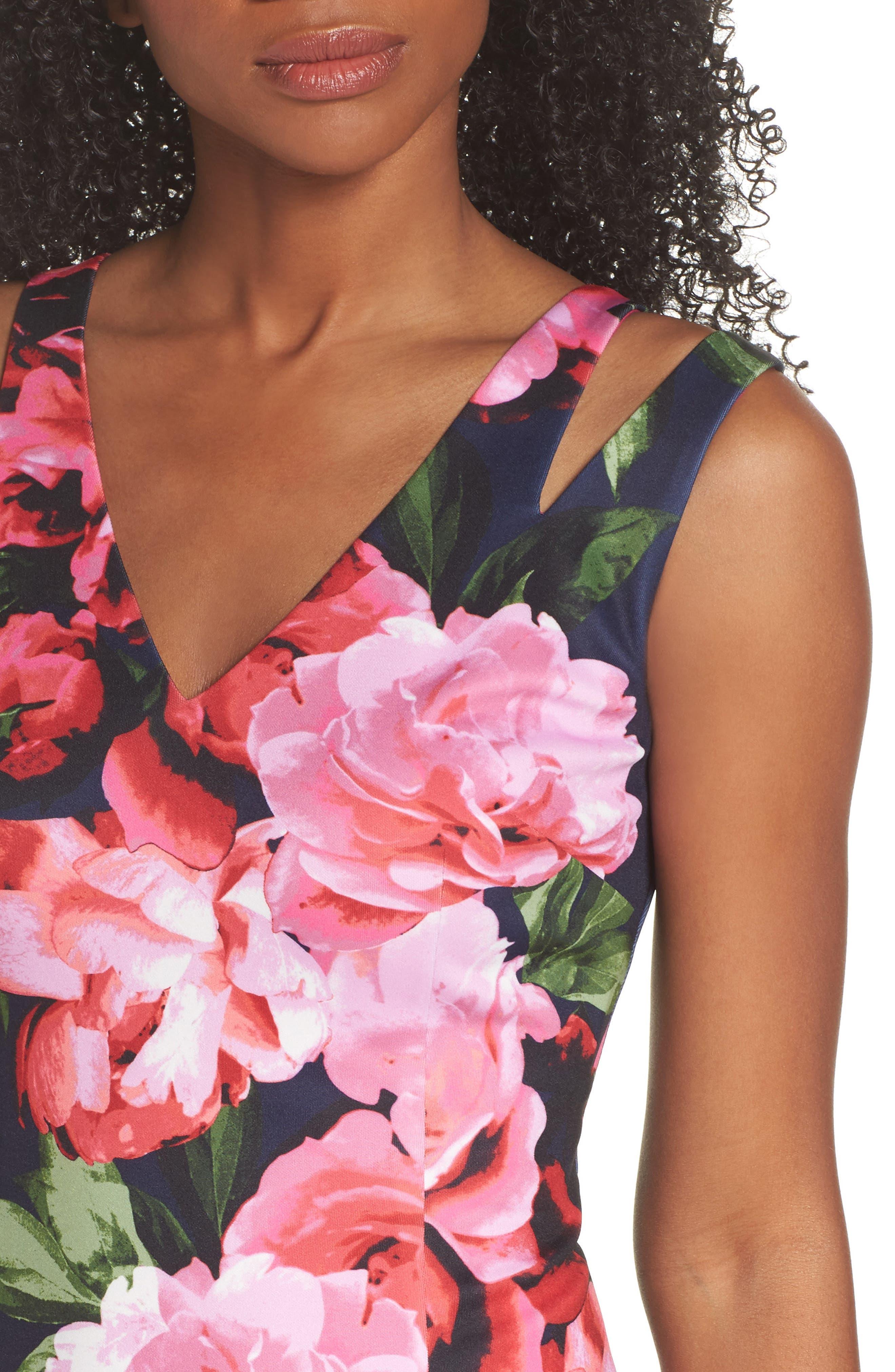 Scuba Sheath Dress,                             Alternate thumbnail 4, color,                             410