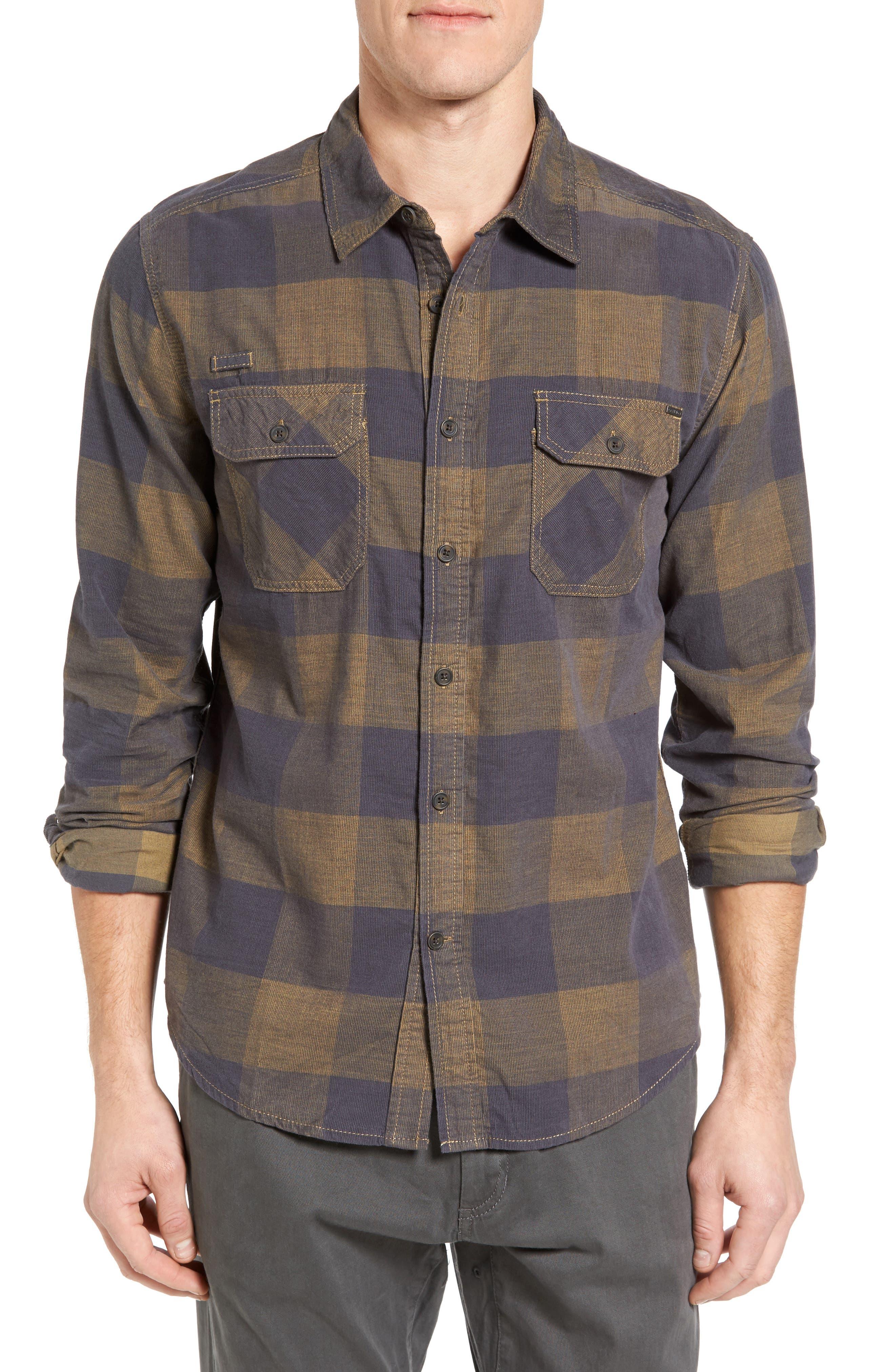 Knock on My Door Regular Fit Check Corduroy Shirt,                             Alternate thumbnail 3, color,