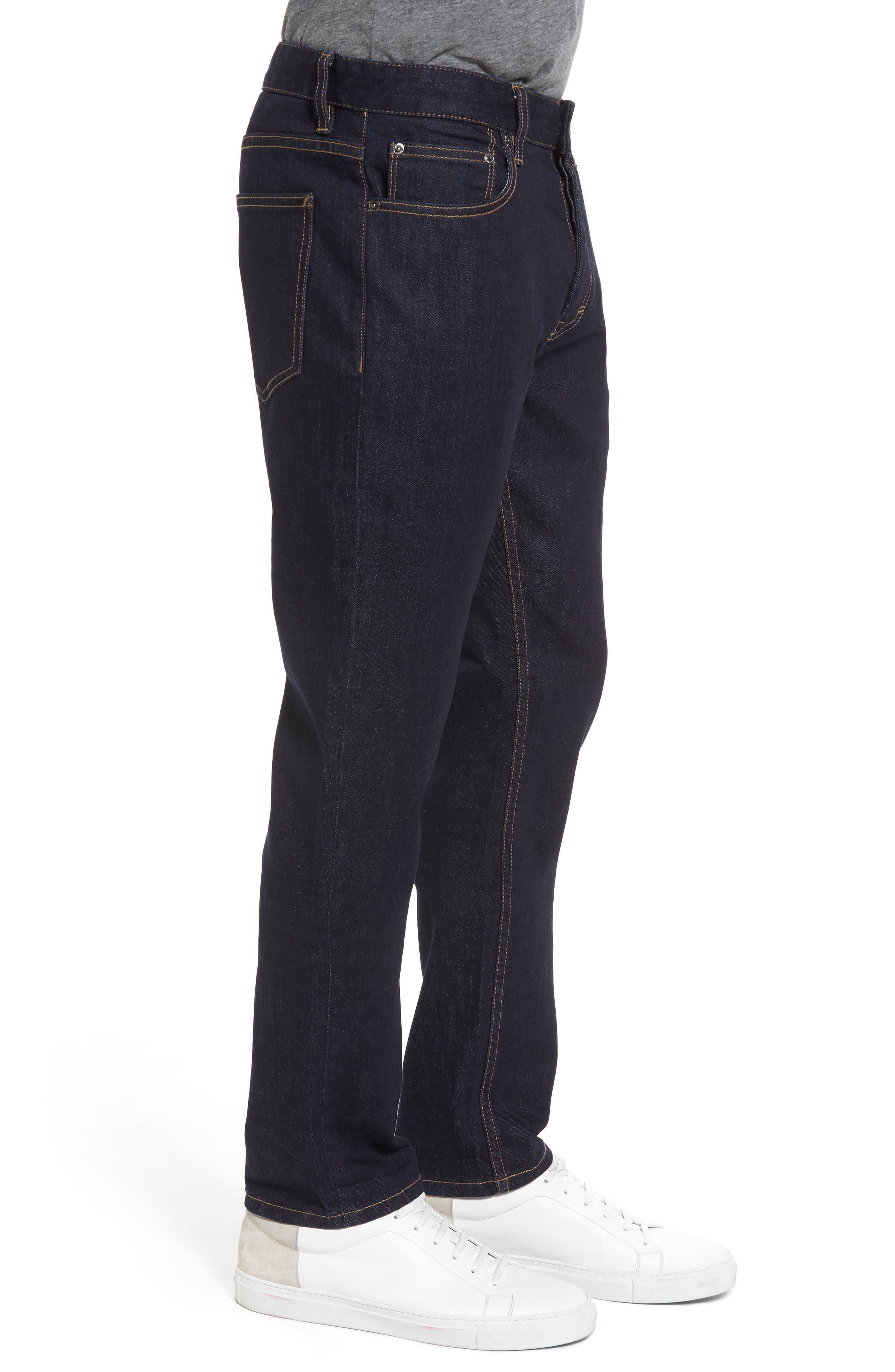 Stretch Slim Fit Raw Denim Jeans,                             Alternate thumbnail 3, color,                             400