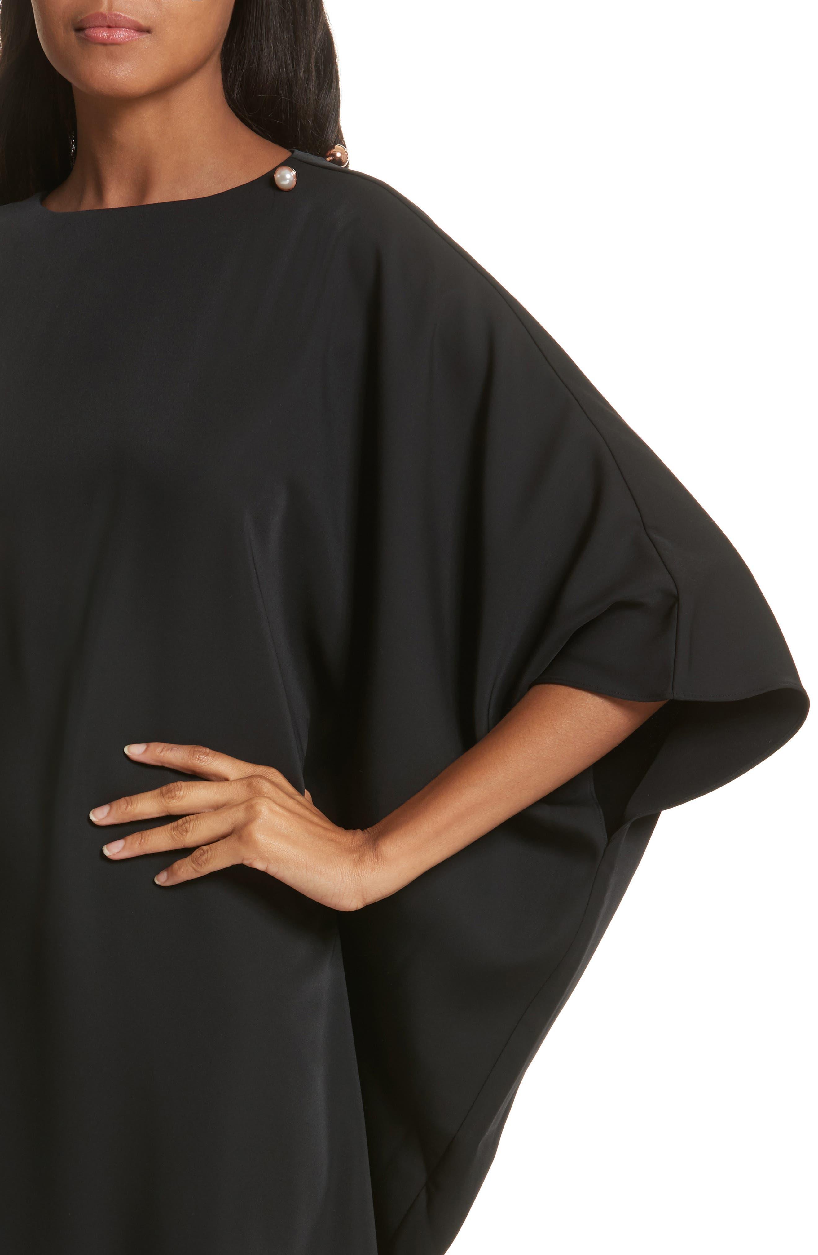 Oversize Drape Front Dress,                             Alternate thumbnail 4, color,                             001