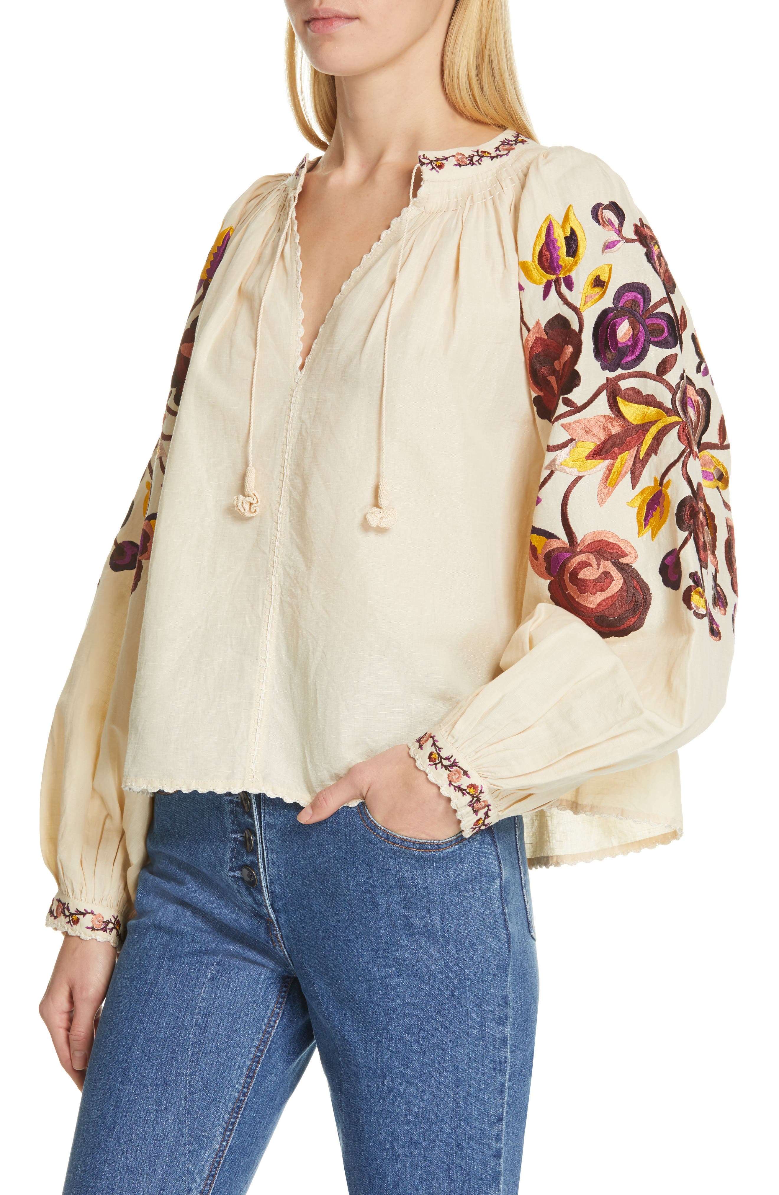 Simona Floral Embroidered Linen & Cotton Blouse,                             Alternate thumbnail 4, color,                             NATURAL