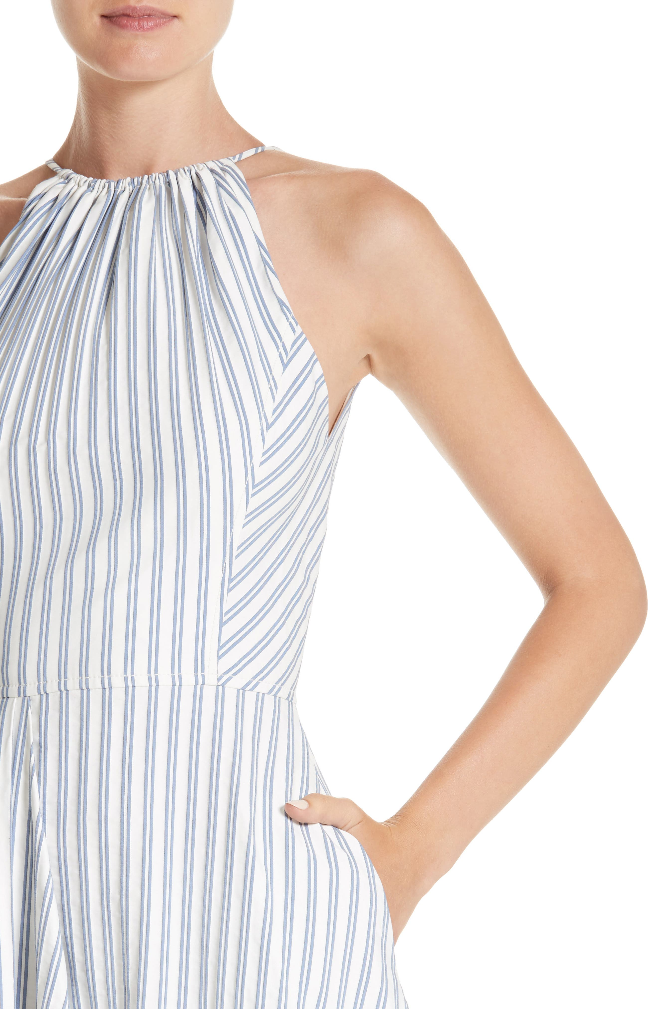 Stripe Shirting Apron Day Dress,                             Alternate thumbnail 4, color,                             453