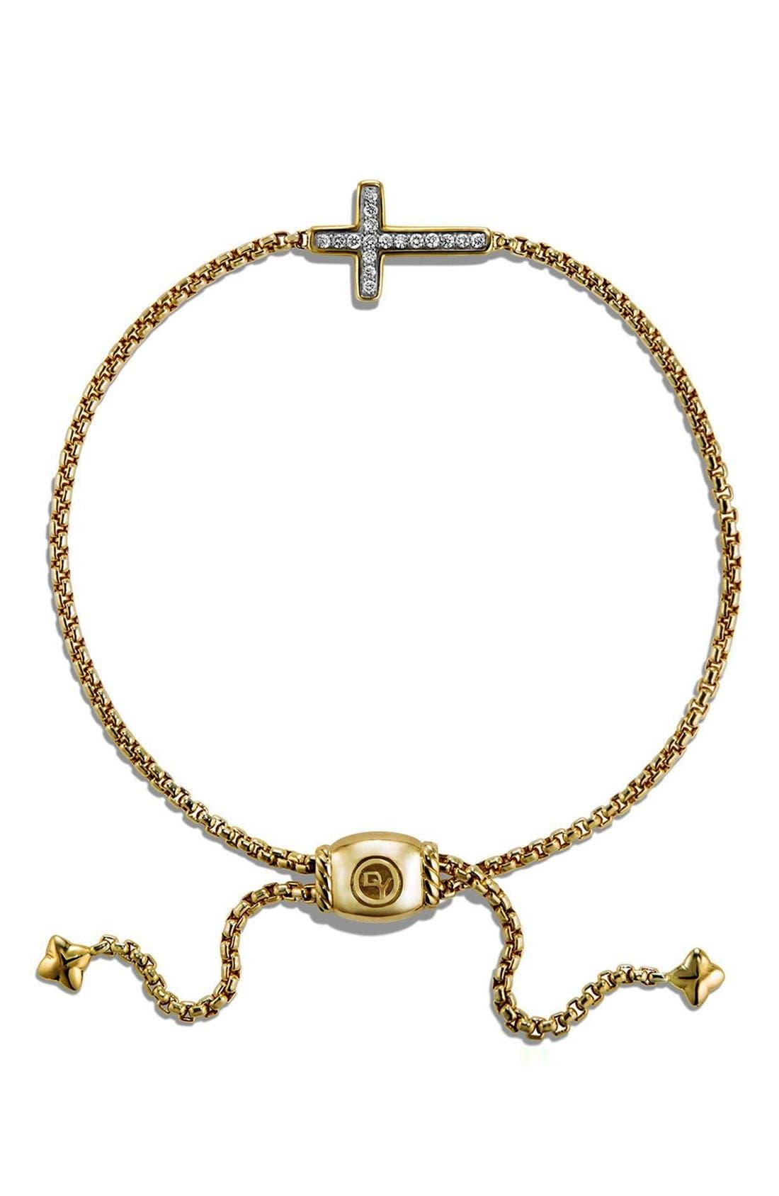 'Petite Pavé' Cross Bracelet with Diamonds in 18K Gold,                             Alternate thumbnail 2, color,                             GOLD