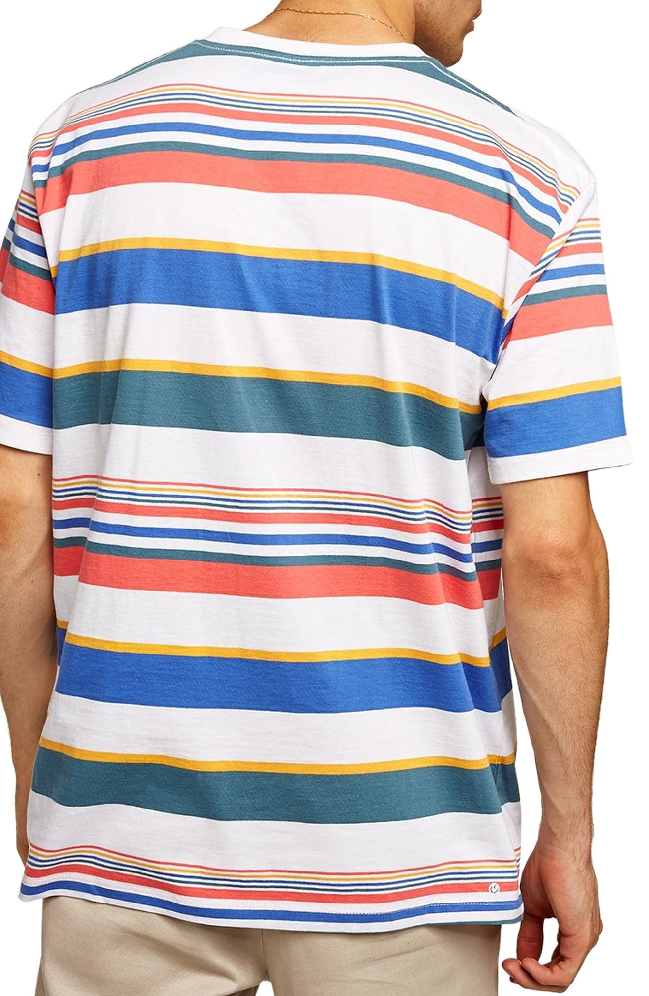 Rainbow Stripe T-Shirt,                             Alternate thumbnail 2, color,                             WHITE MULTI