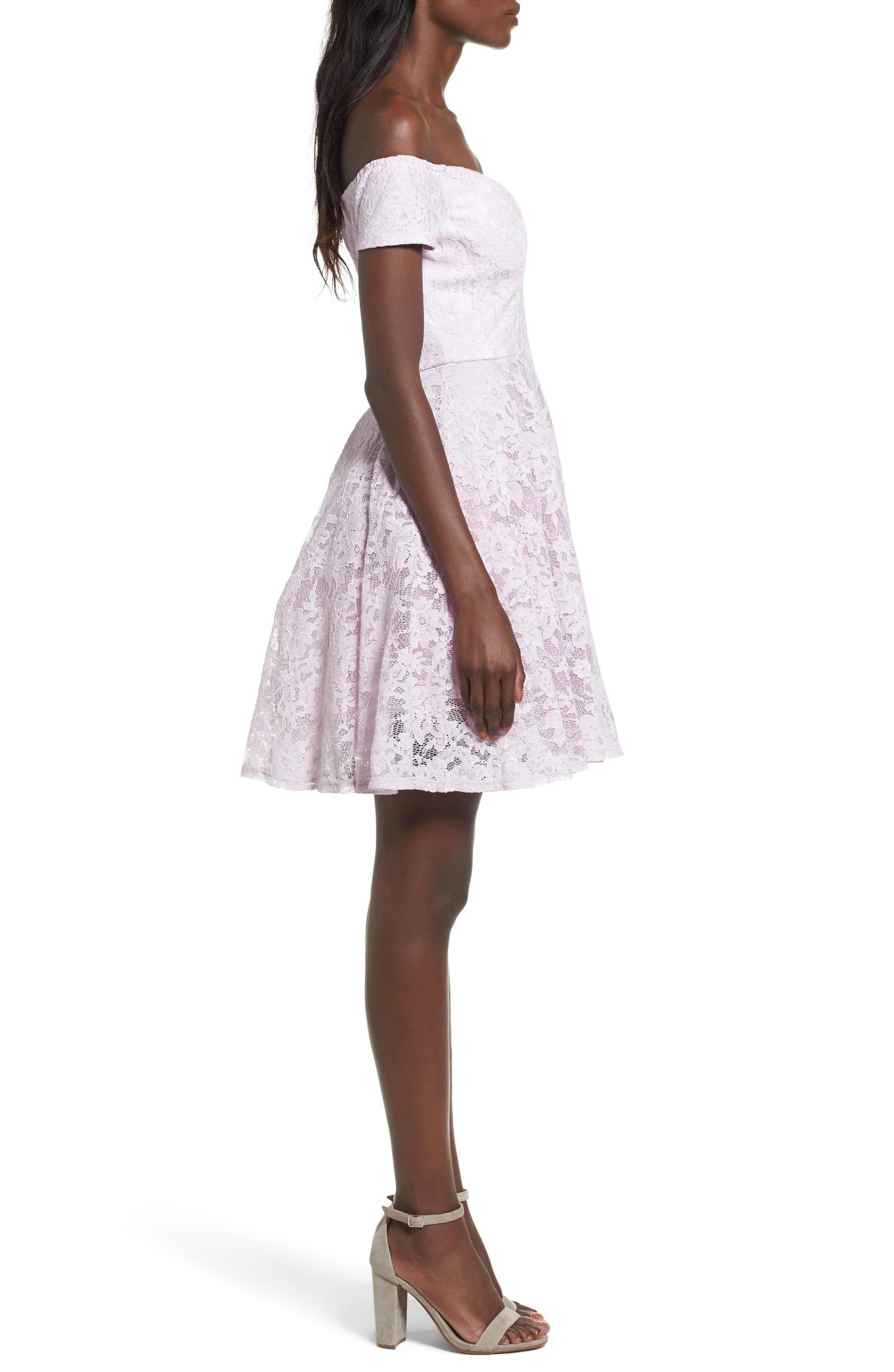 Lace Off the Shoulder Fit & Flare Dress,                             Alternate thumbnail 16, color,