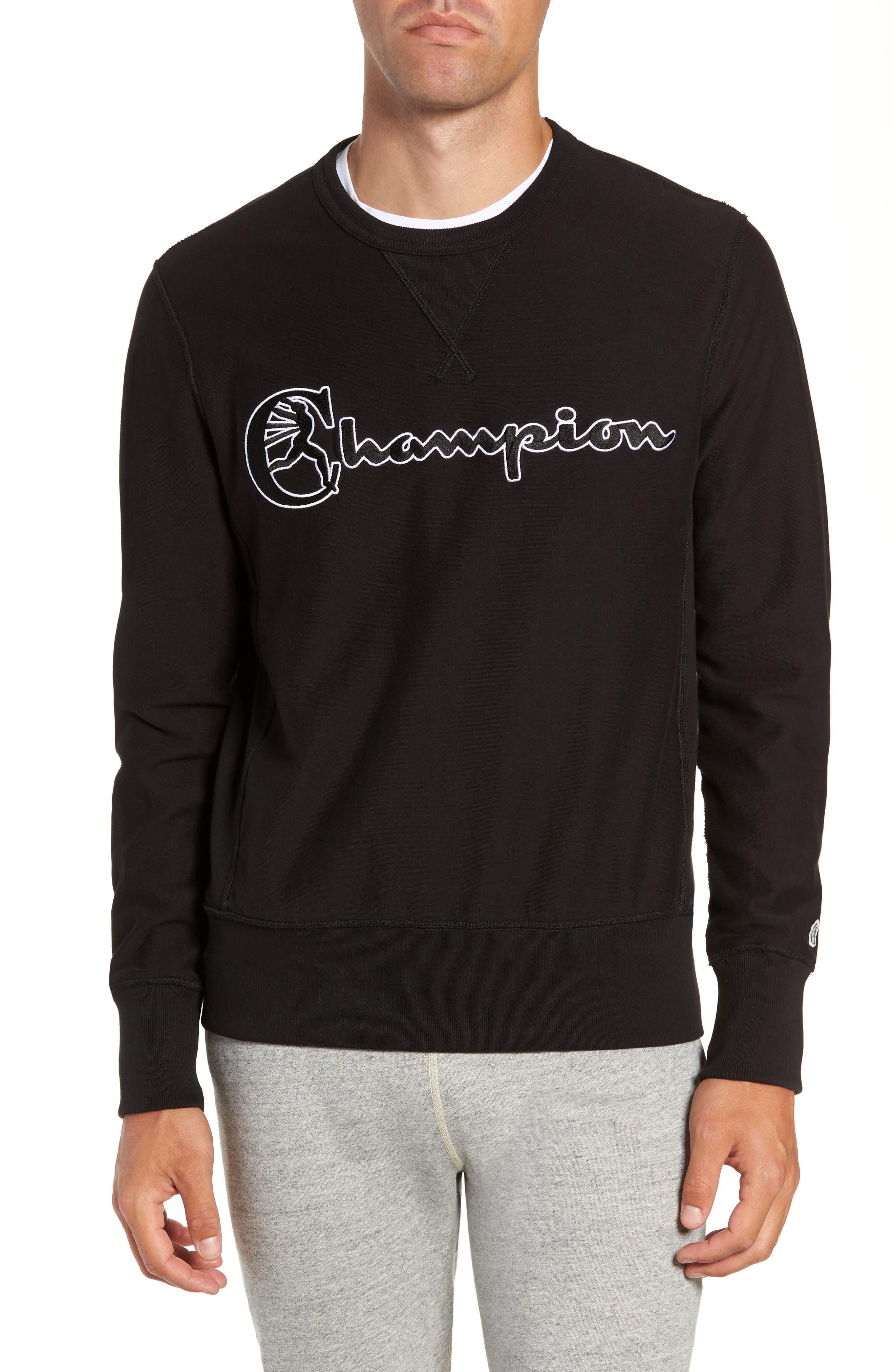 + Champion Script Sweatshirt,                             Main thumbnail 1, color,                             BLACK
