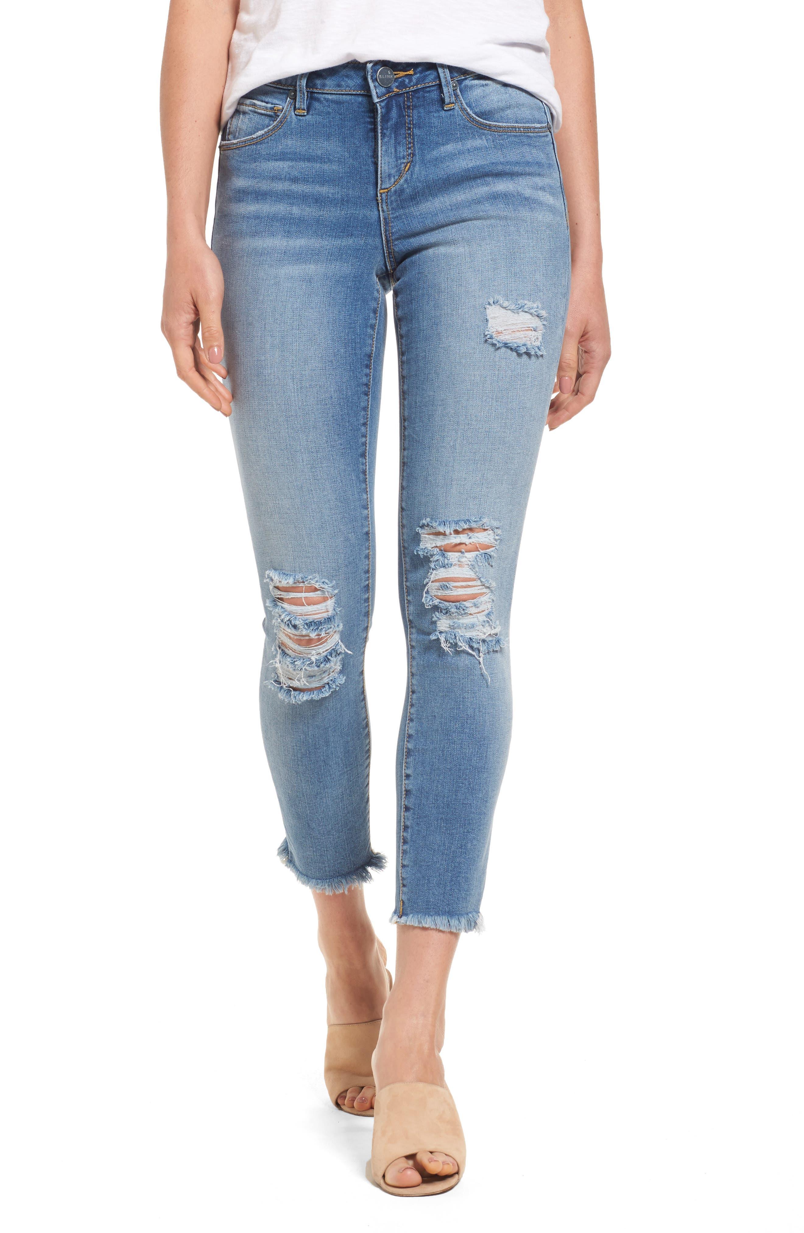 Frayed Hem Ankle Jeans,                             Main thumbnail 1, color,                             EDEN